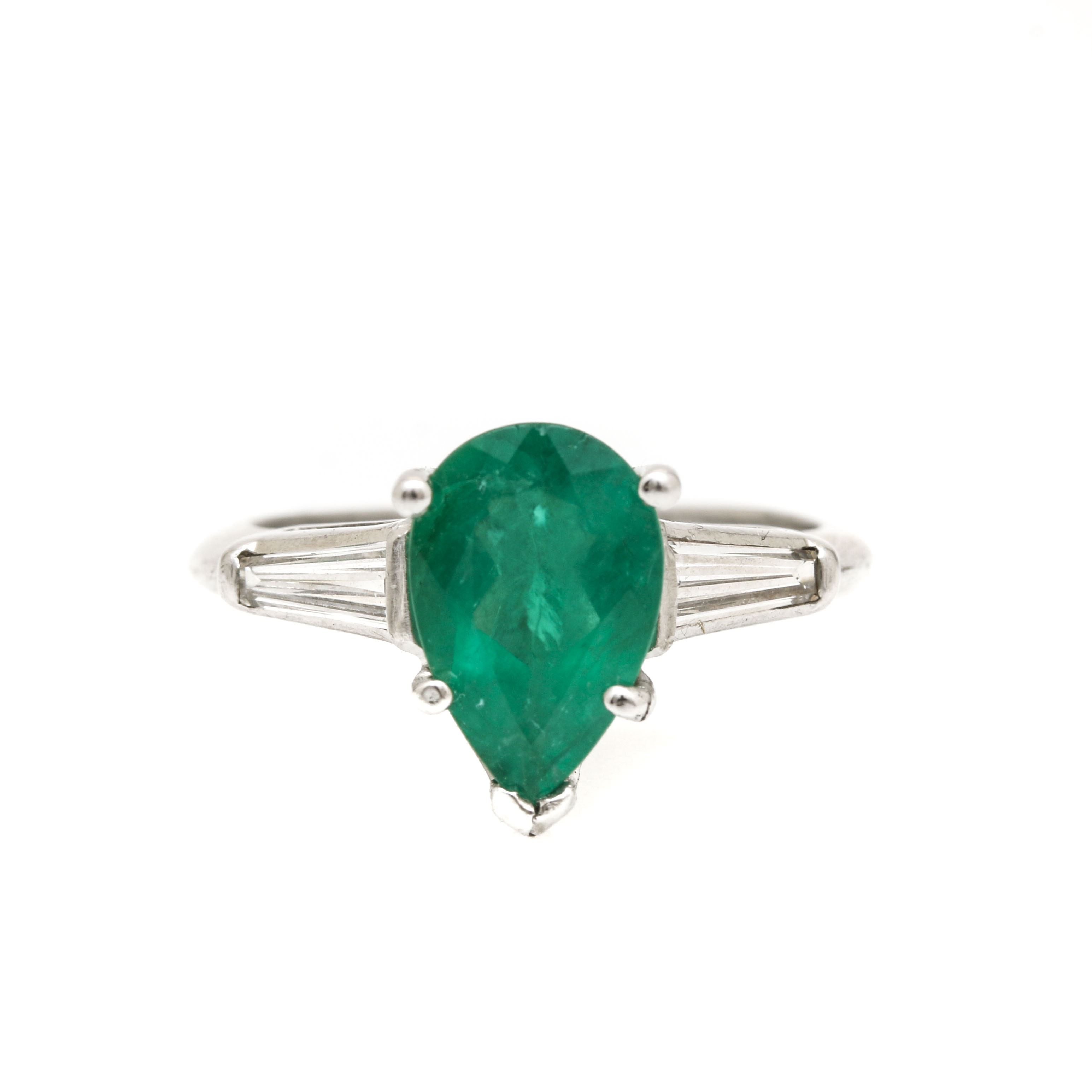 Platinum 1.34 CT Emerald and Diamond Ring