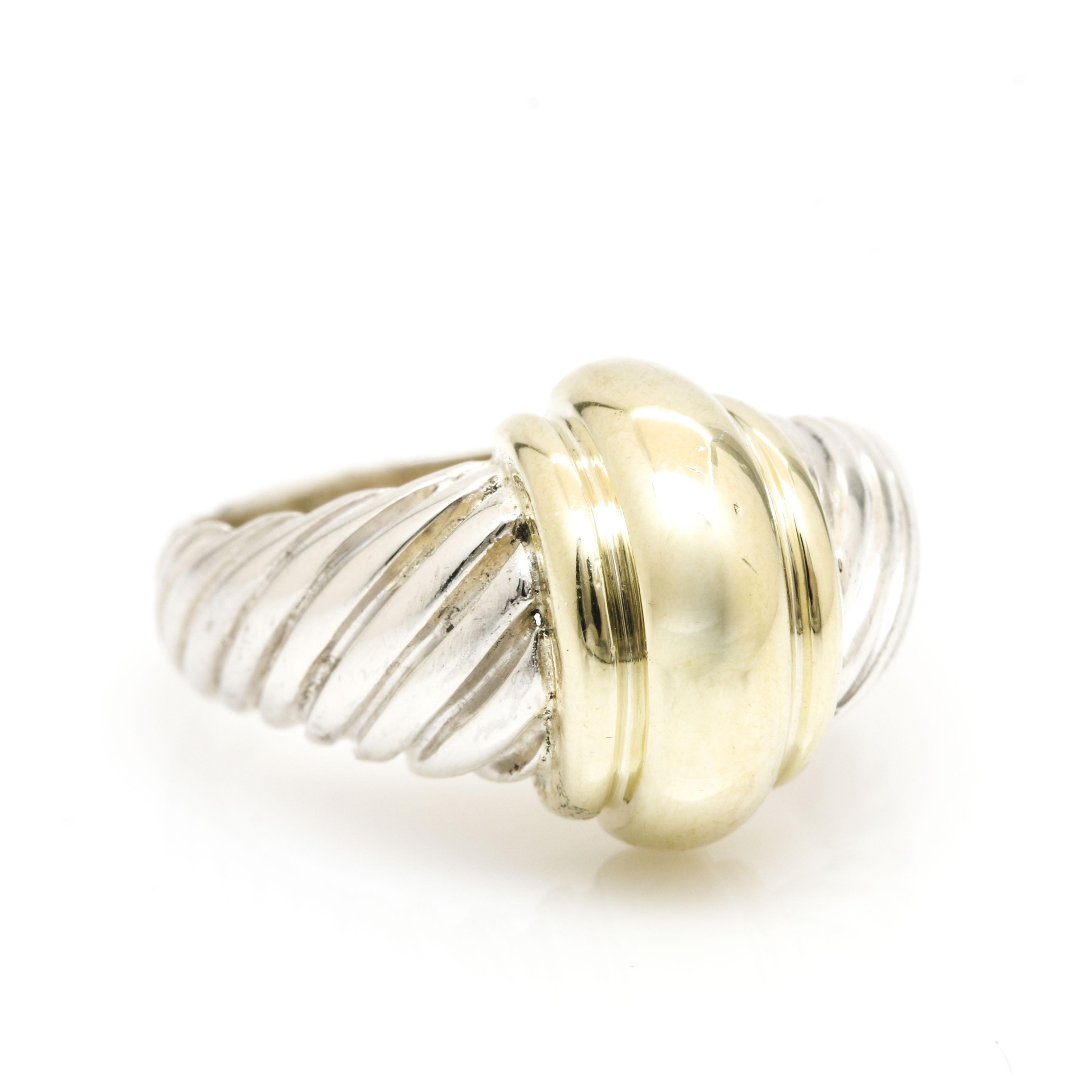 David Yurman Sterling Silver and 14K Yellow Gold Ring