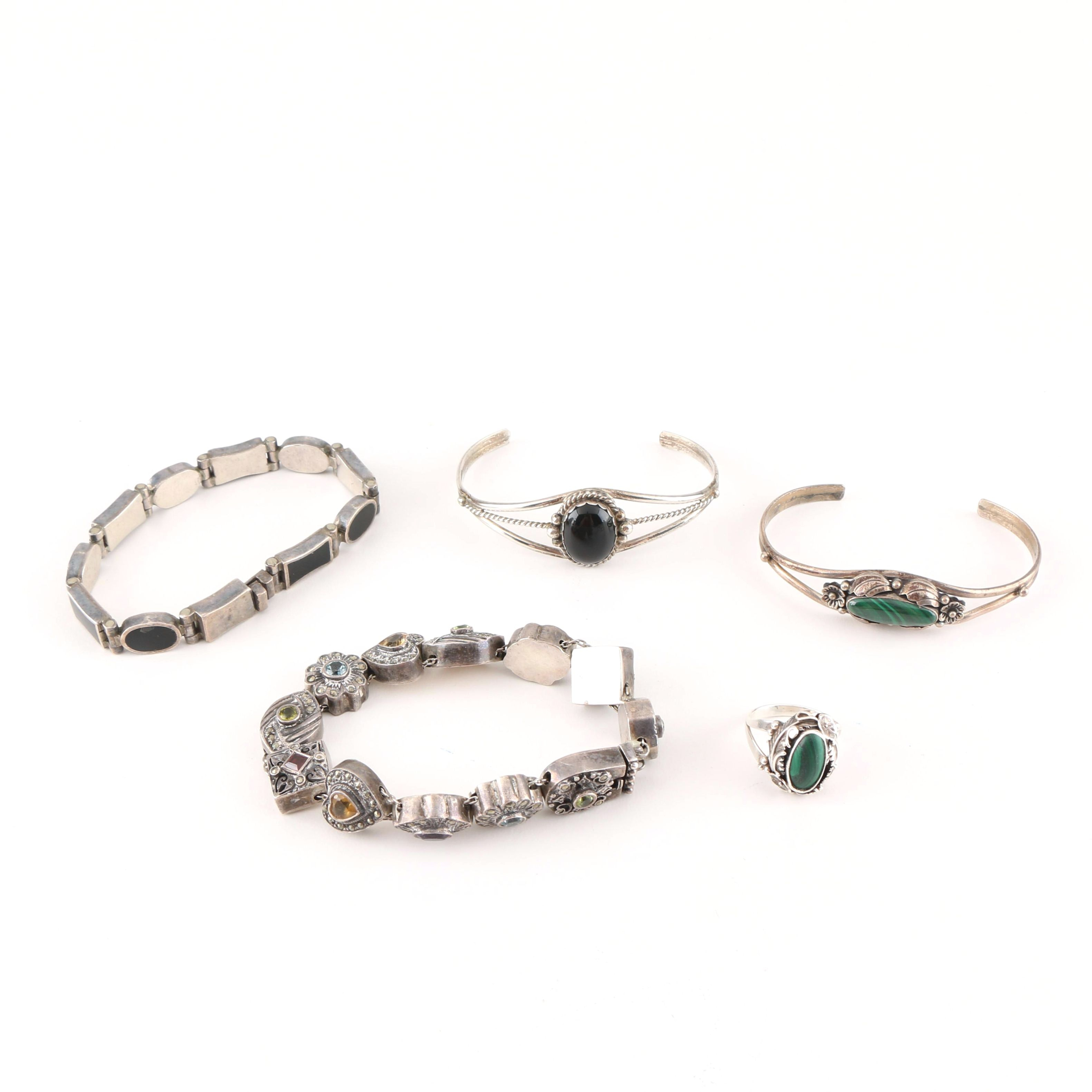 Vintage Sterling Silver Bracelets and Raymond Gasper Zuni Ring