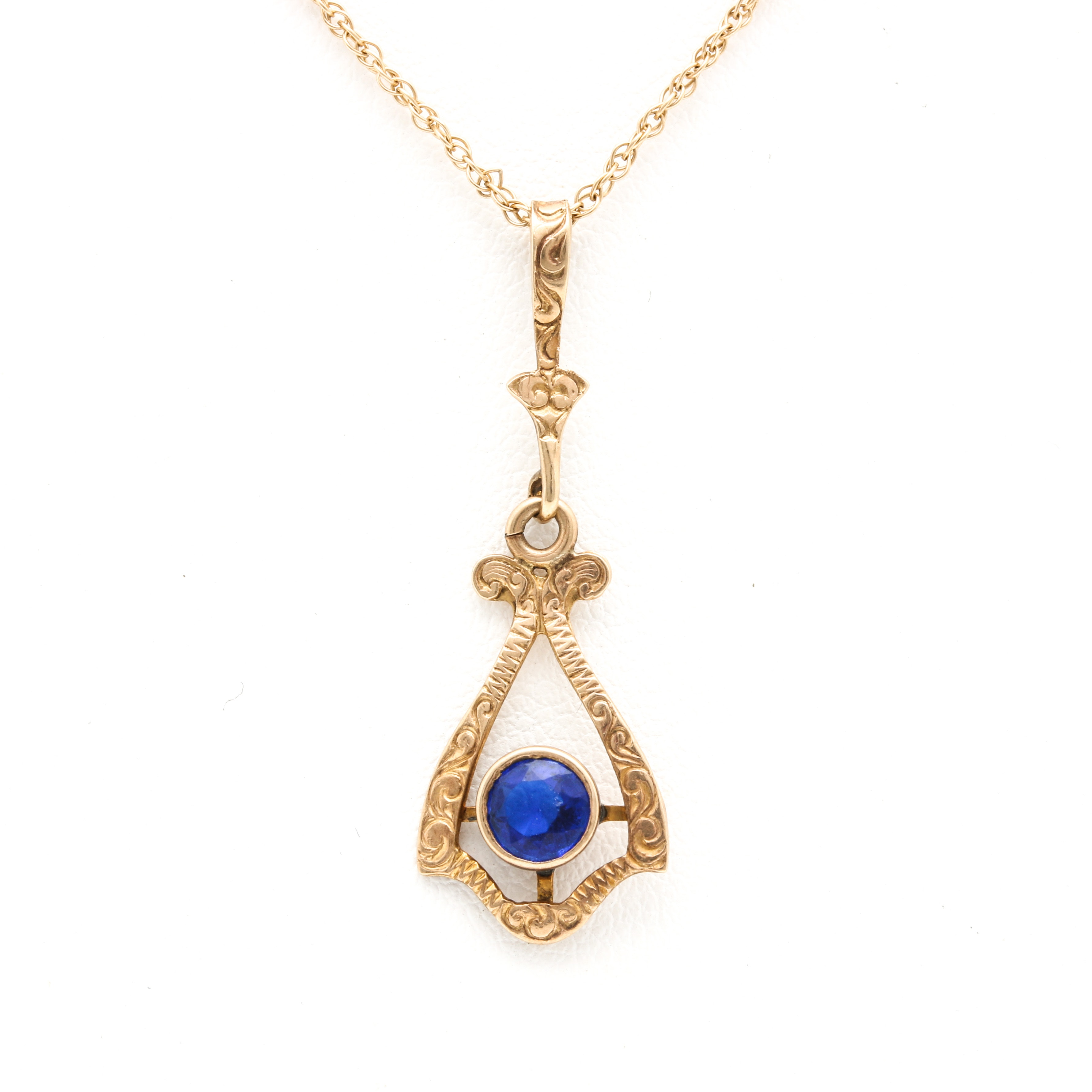 10K Yellow Gold Blue Glass Pendant With 14K Yellow Gold Chain Necklace