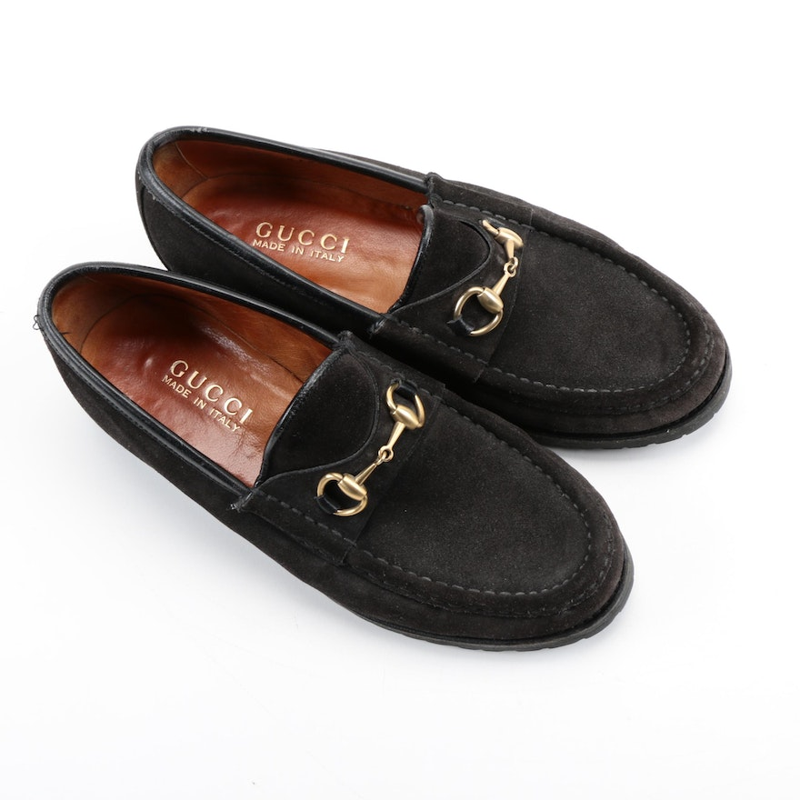 234a38c2b Gucci Dark Brown Suede Loafers | EBTH