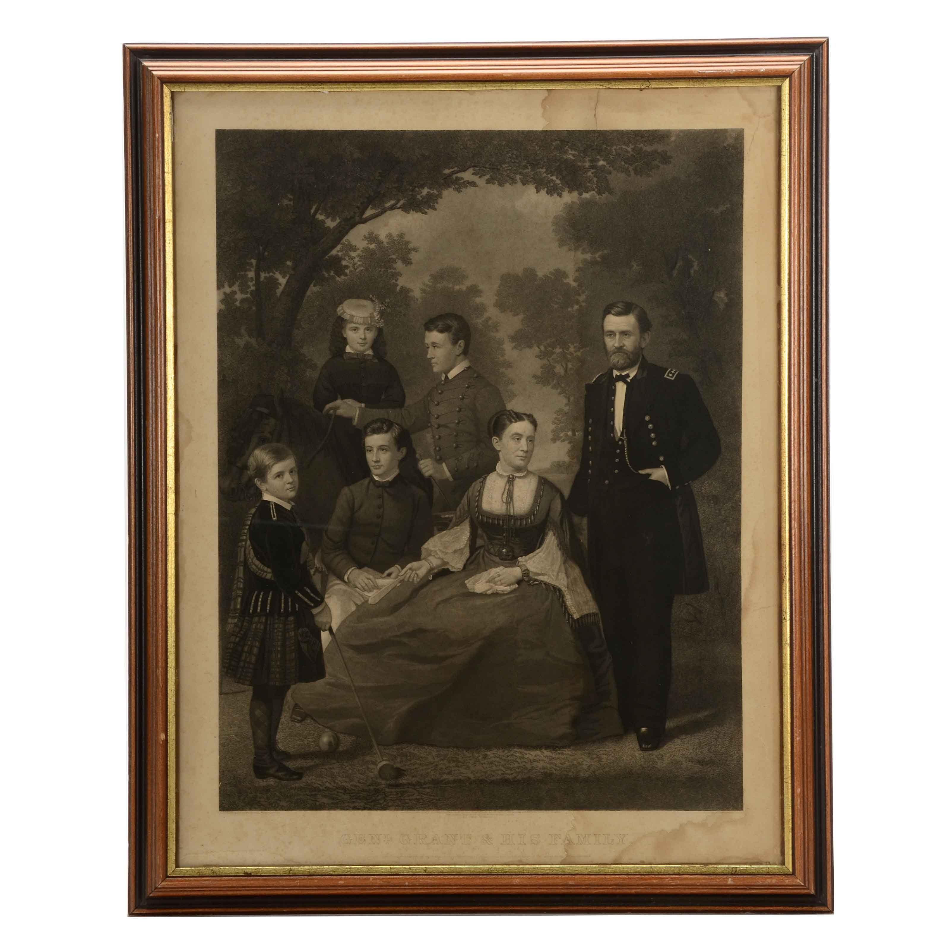General Grant & His Family Engraving Print