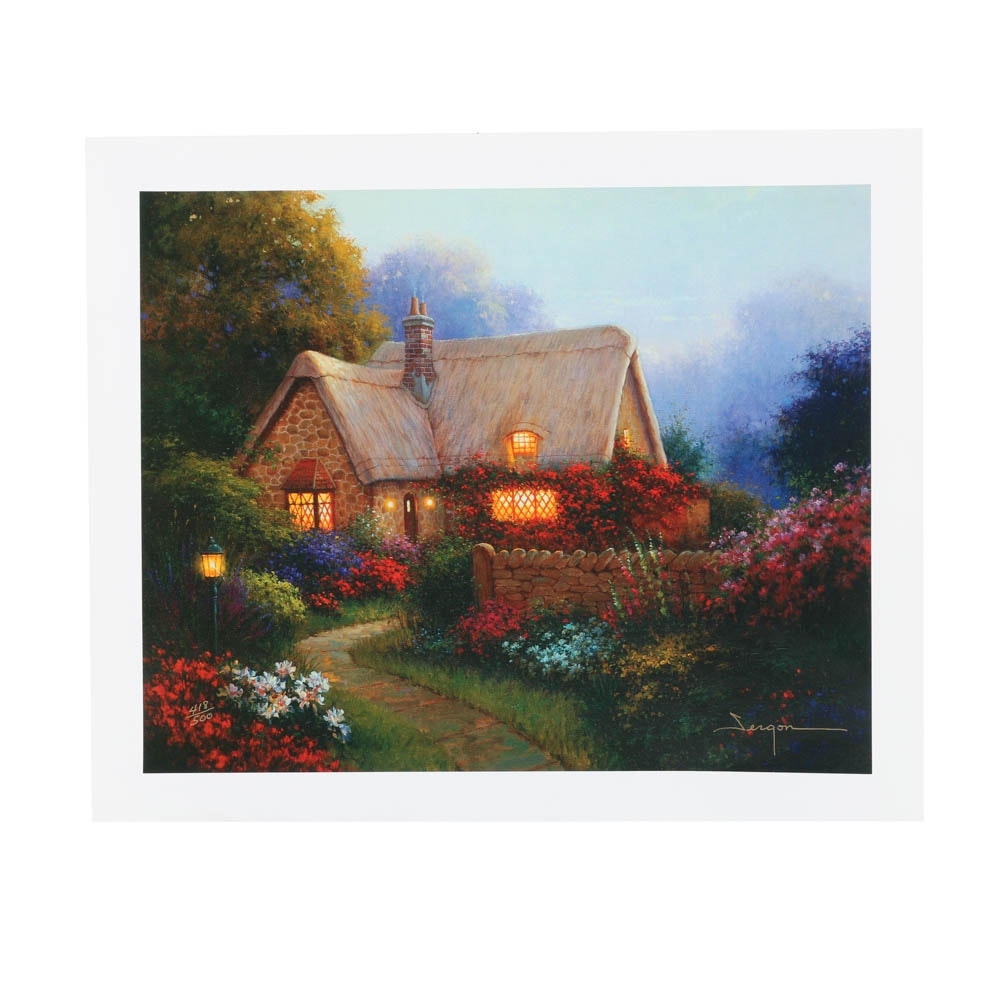 """Limited Edition Giclée on Unstretched Canvas """"Bougainvillea Cottage"""""""