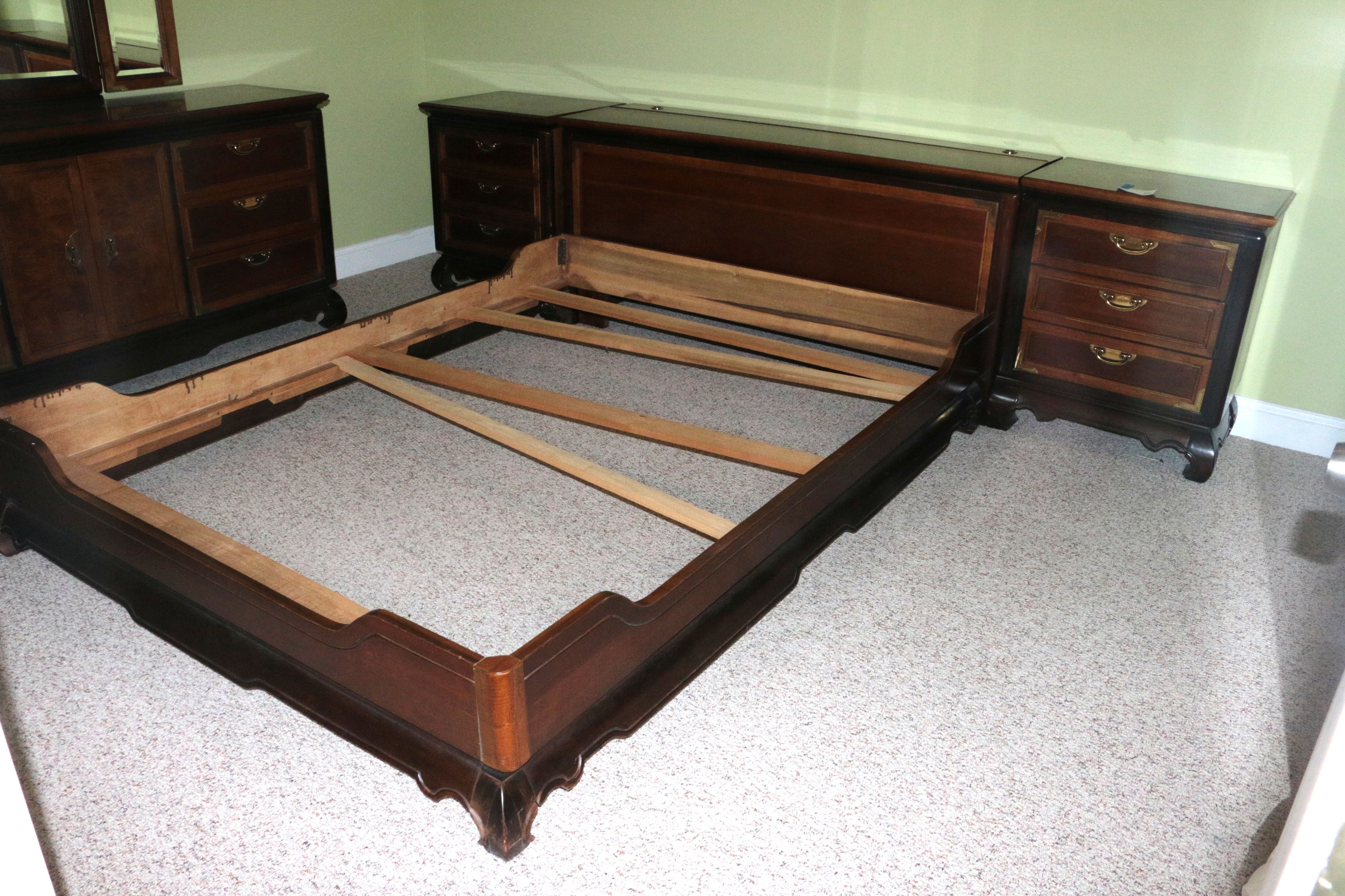 Vintage Storage Headboard and Bed Frame with Nightstands by Broyhill