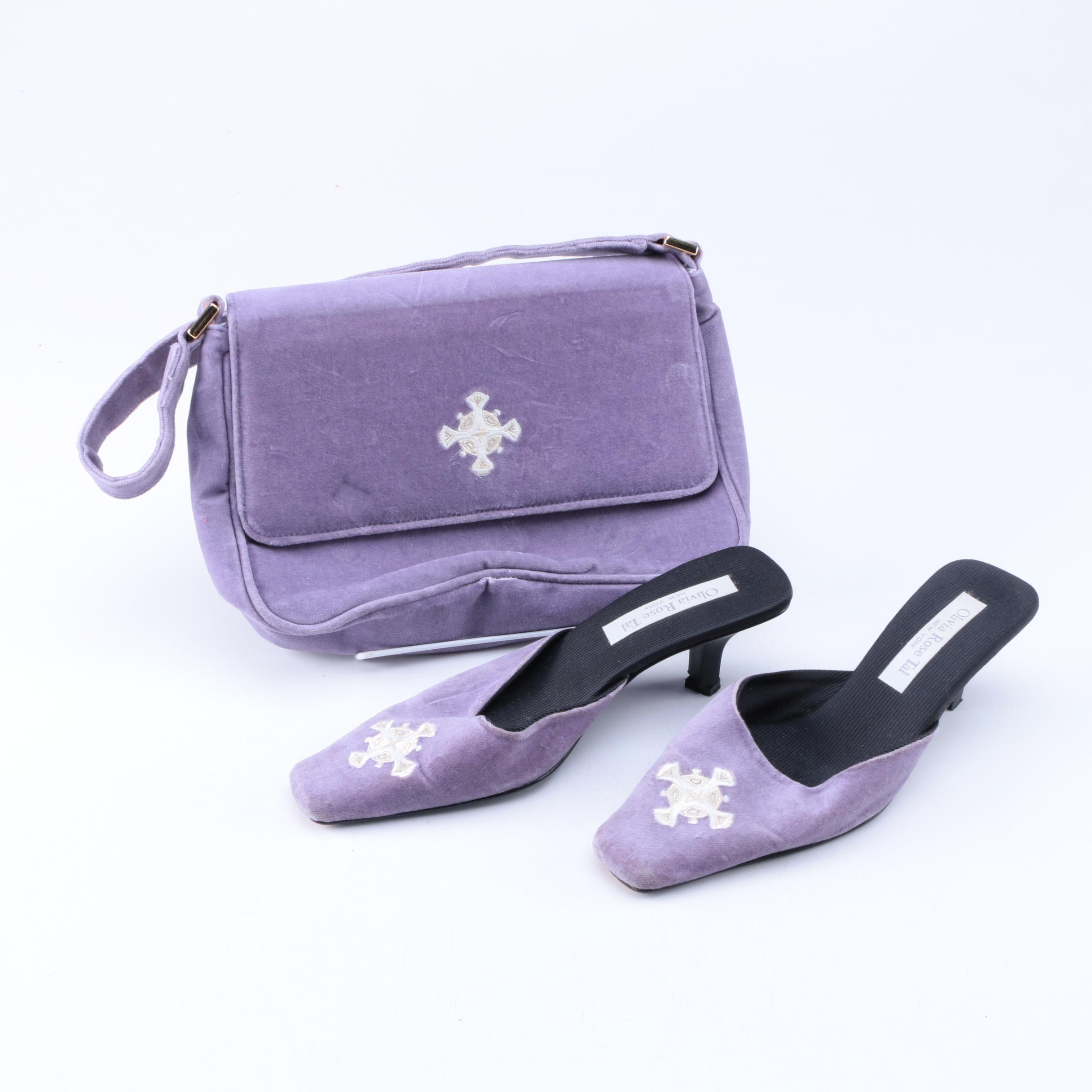Olivia Rose Tal Matching Handbag and Mule Heels Set