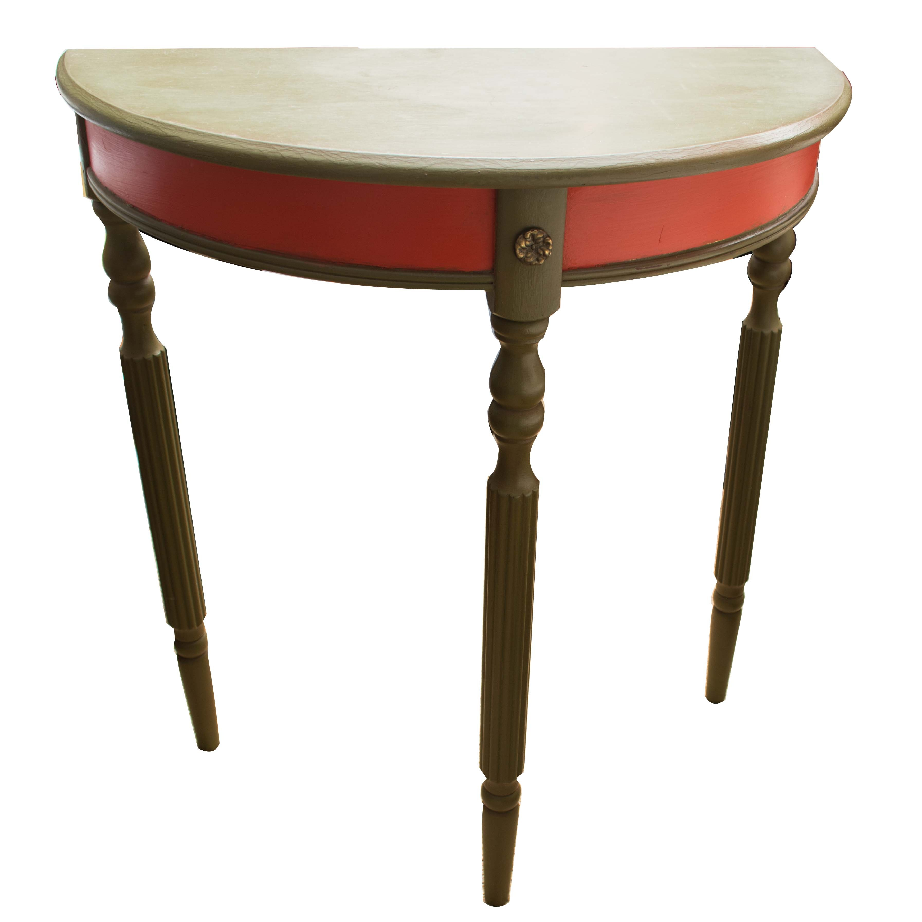 Painted Sheraton Style Demilune Table