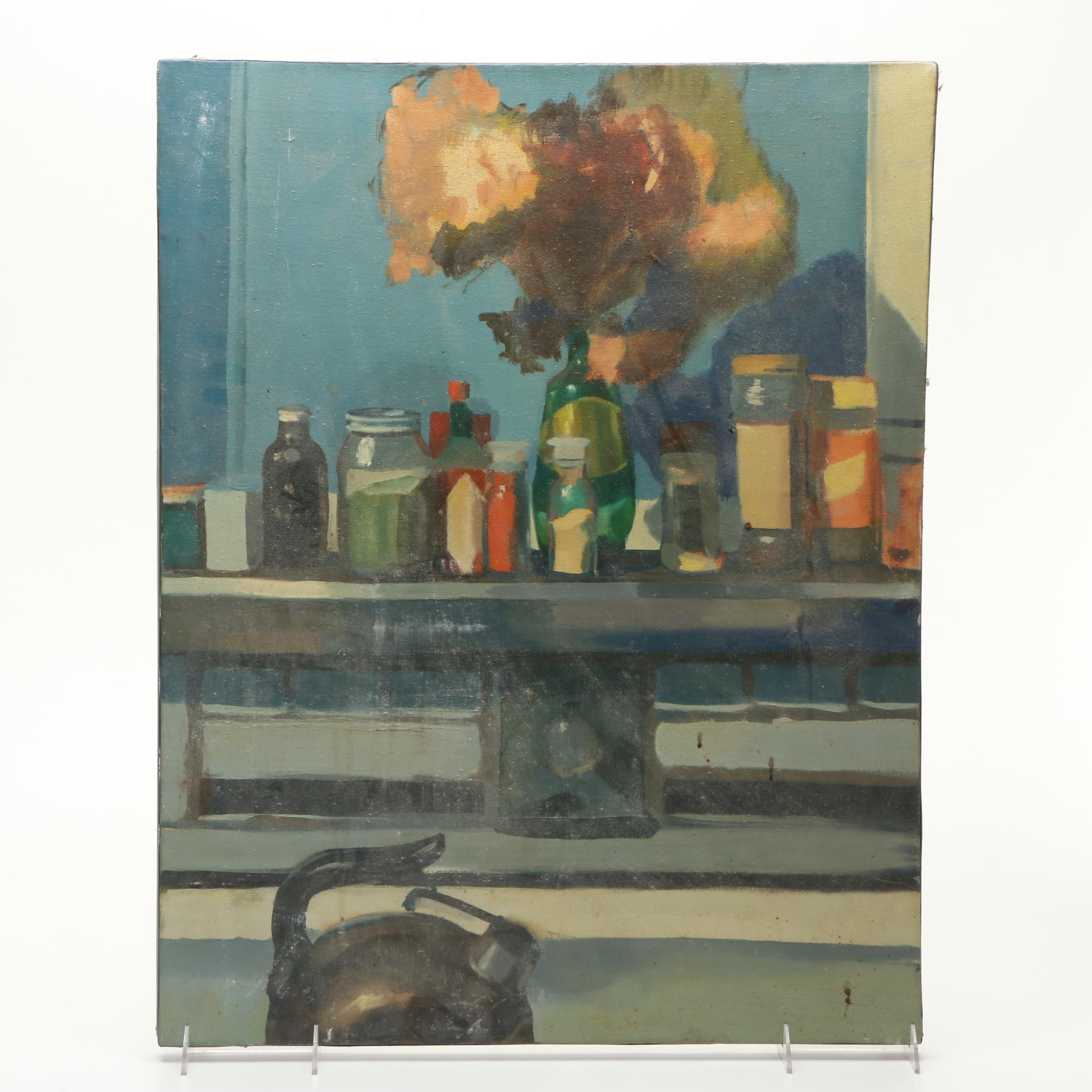 Vintage Oil Painting on Canvas of a Still Life