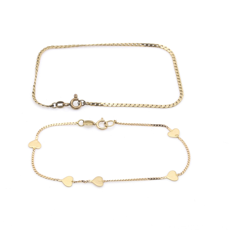 14K Yellow Gold Chain Bracelets
