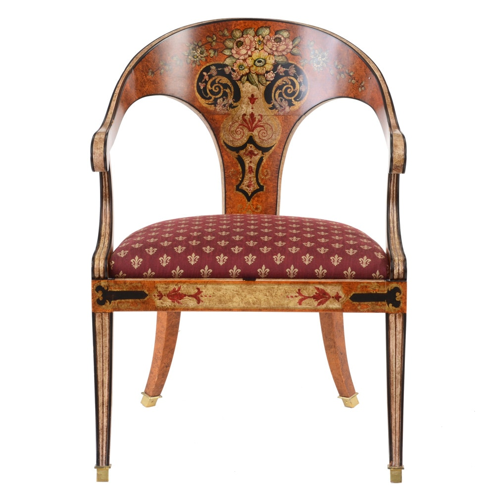 Hand Painted Curved Back Arm Chair By Sherrill