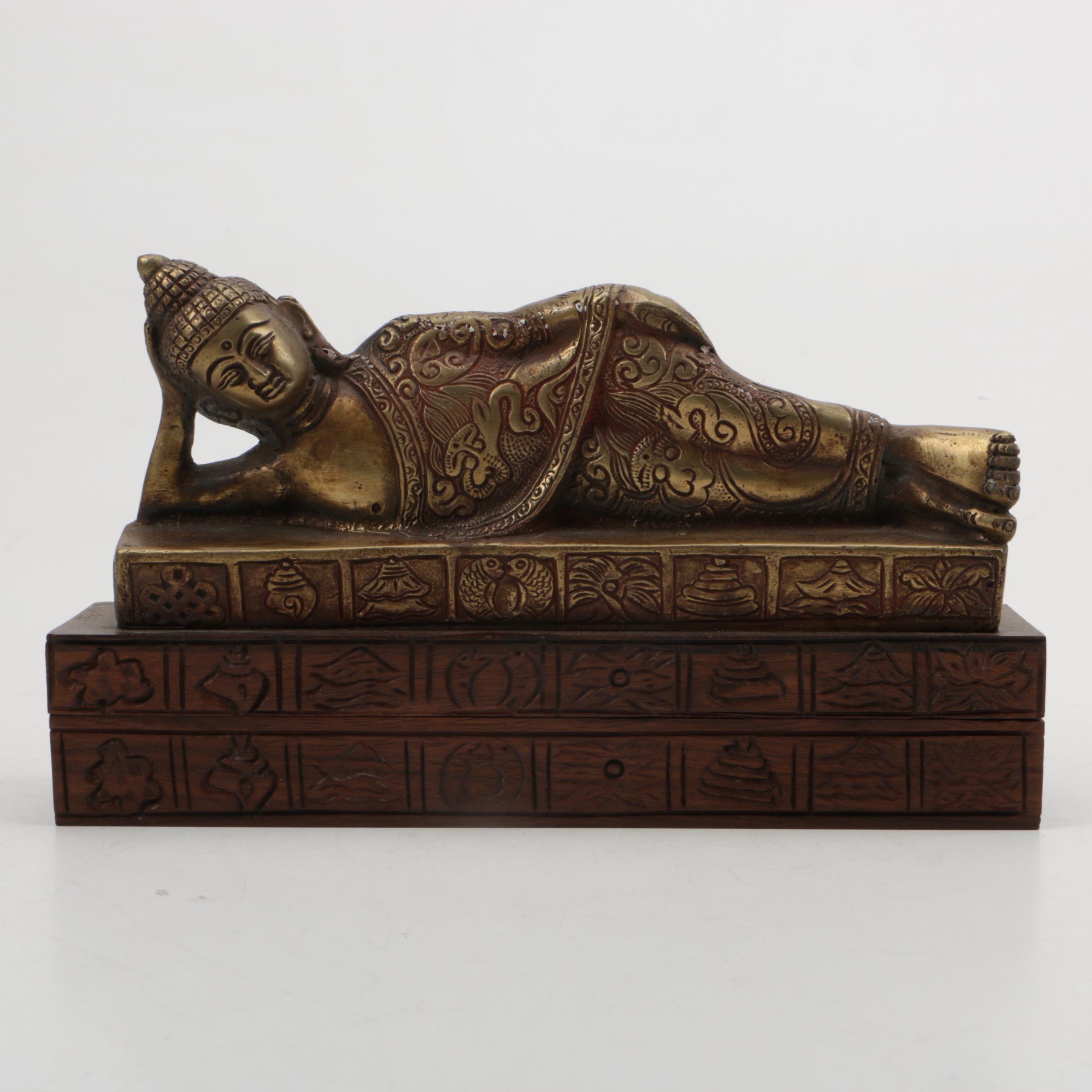 Reclining Brass Buddha on Mahogany Box