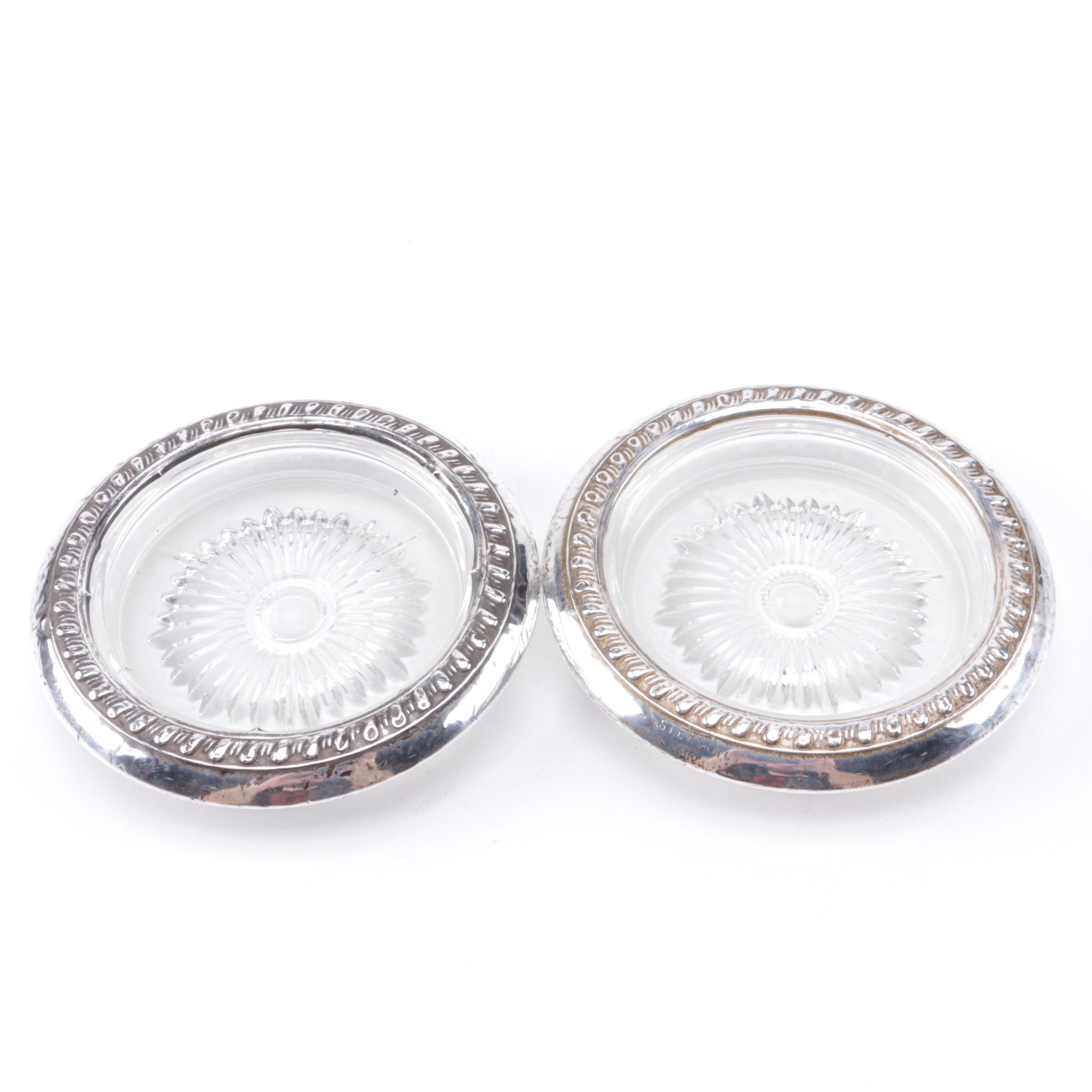 STC Sterling Rimmed Glass Coasters