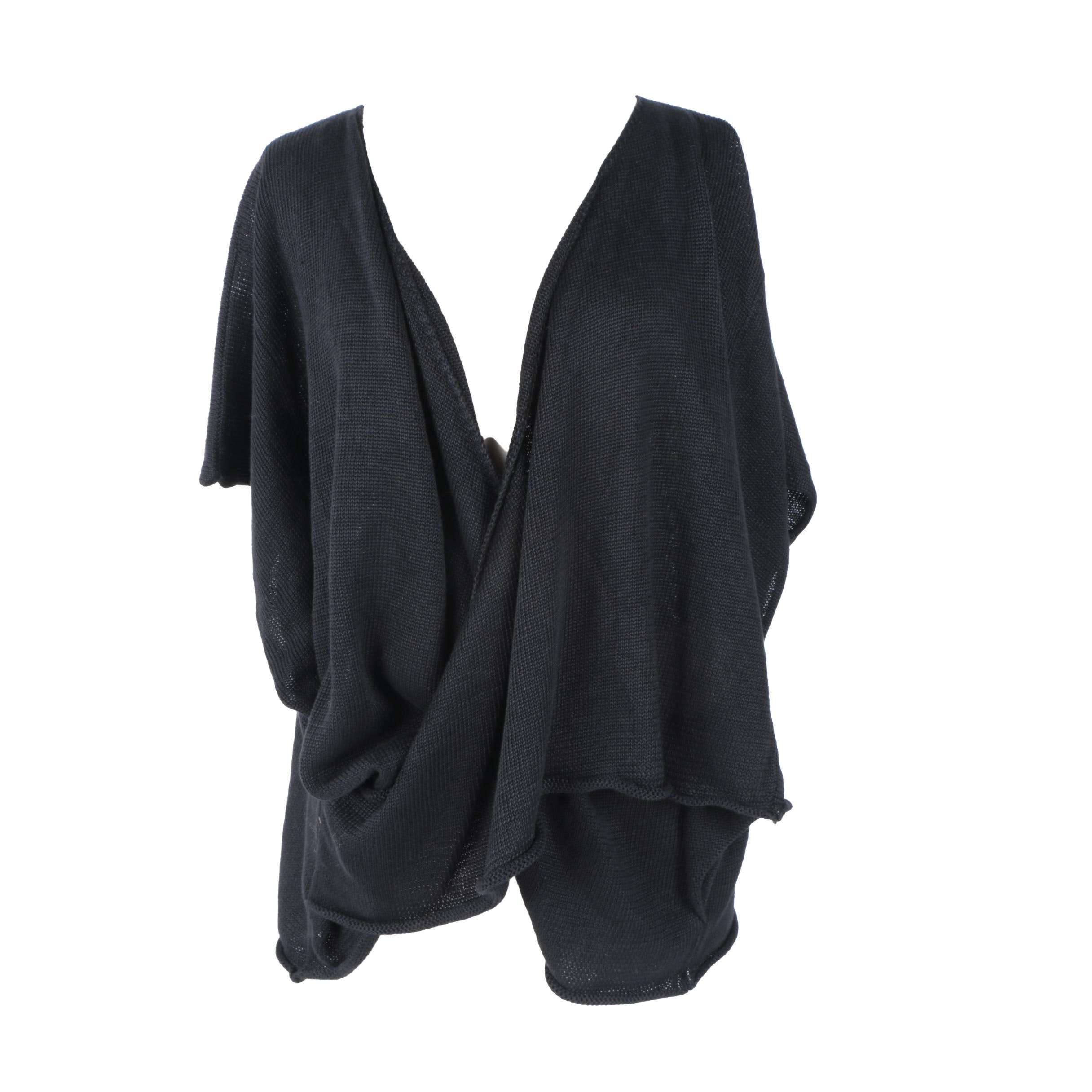 Eskandar Black Knit Wrap Cardigan