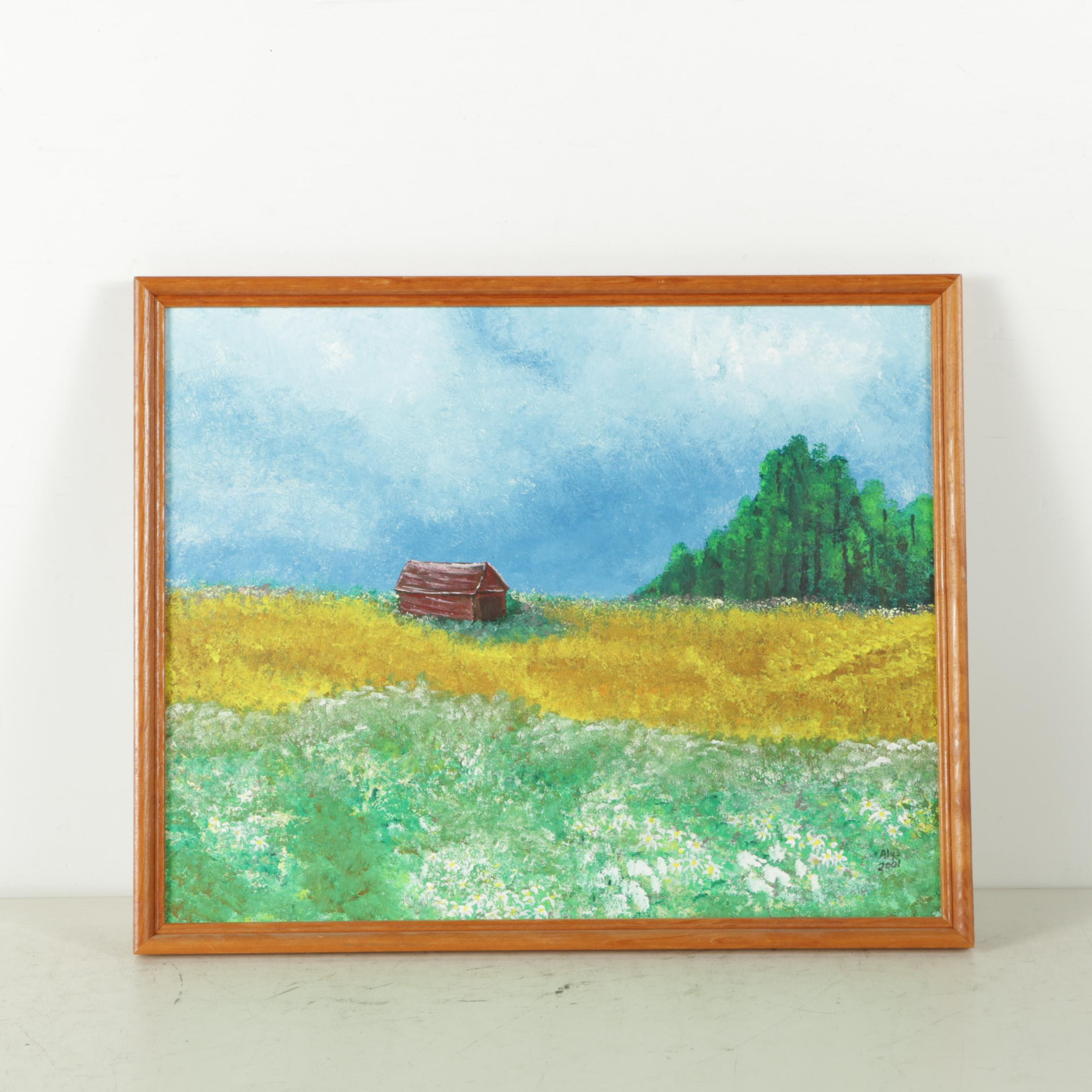 Alys Caviness-Gober Acrylic Painting on Canvas Board of Pastoral Landscape