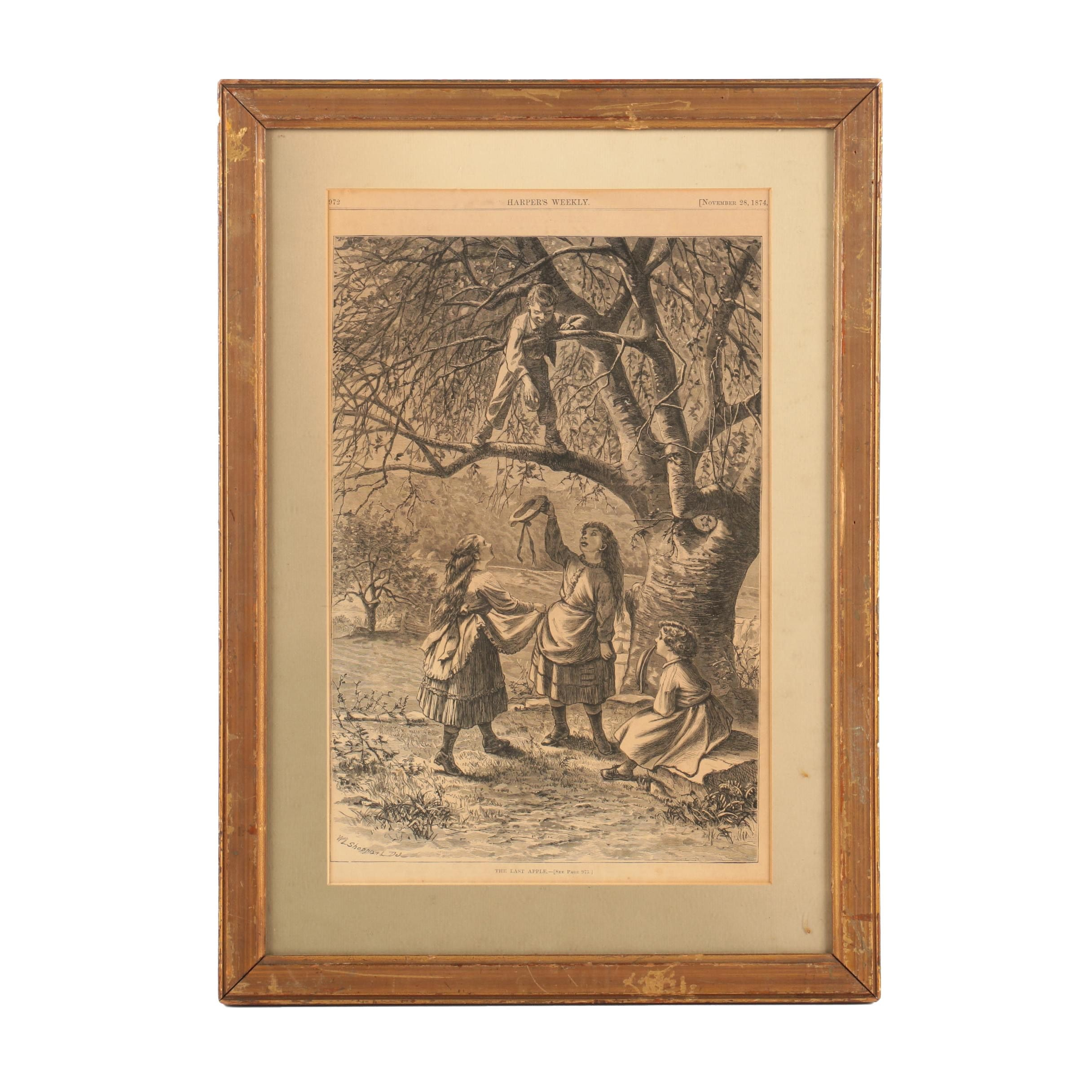 """Harper's Weekly Wood Engraving After W. L. Sheppard's """"The Last Apple"""""""