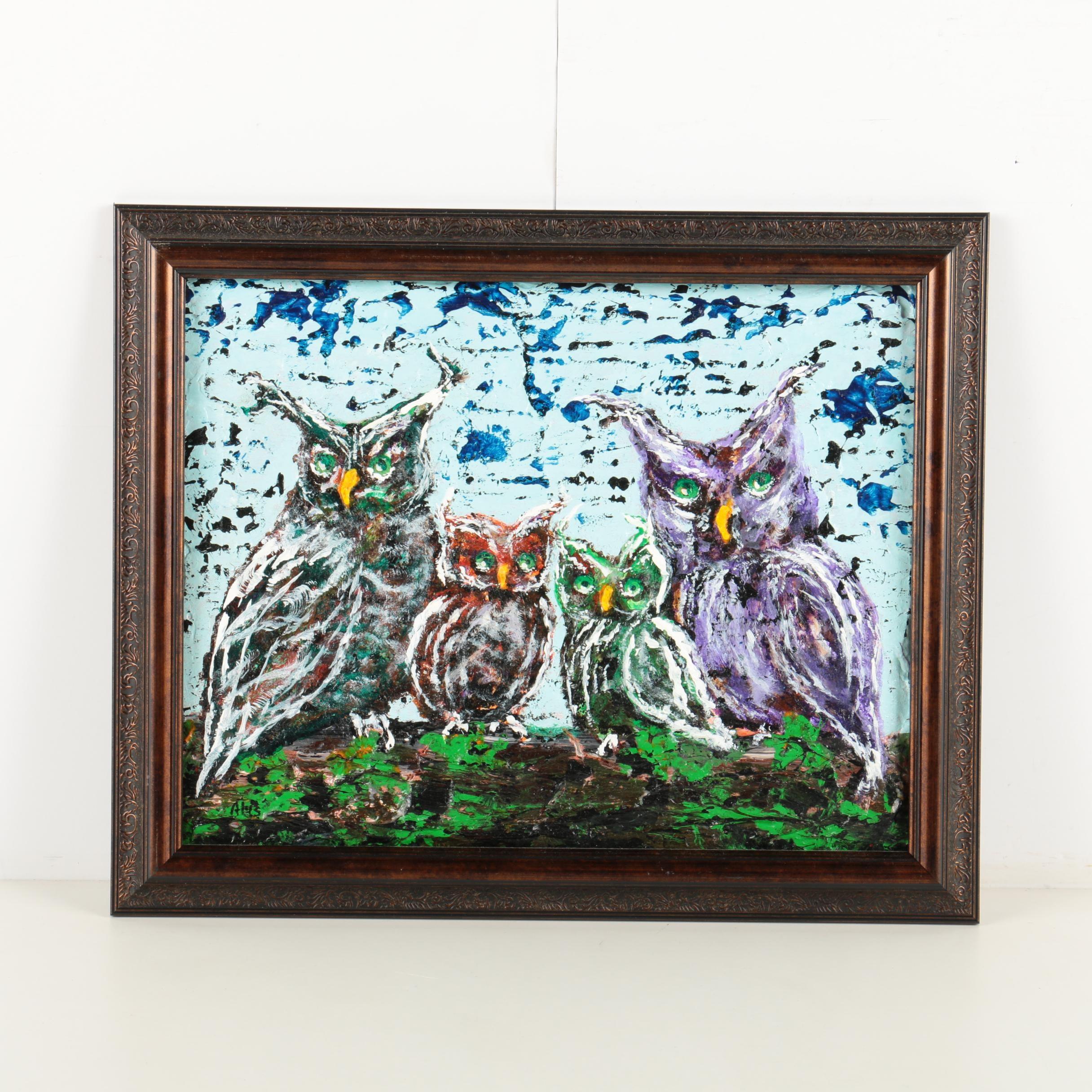 "Alys Caviness-Gober Acrylic Painting ""An Owl Family"""
