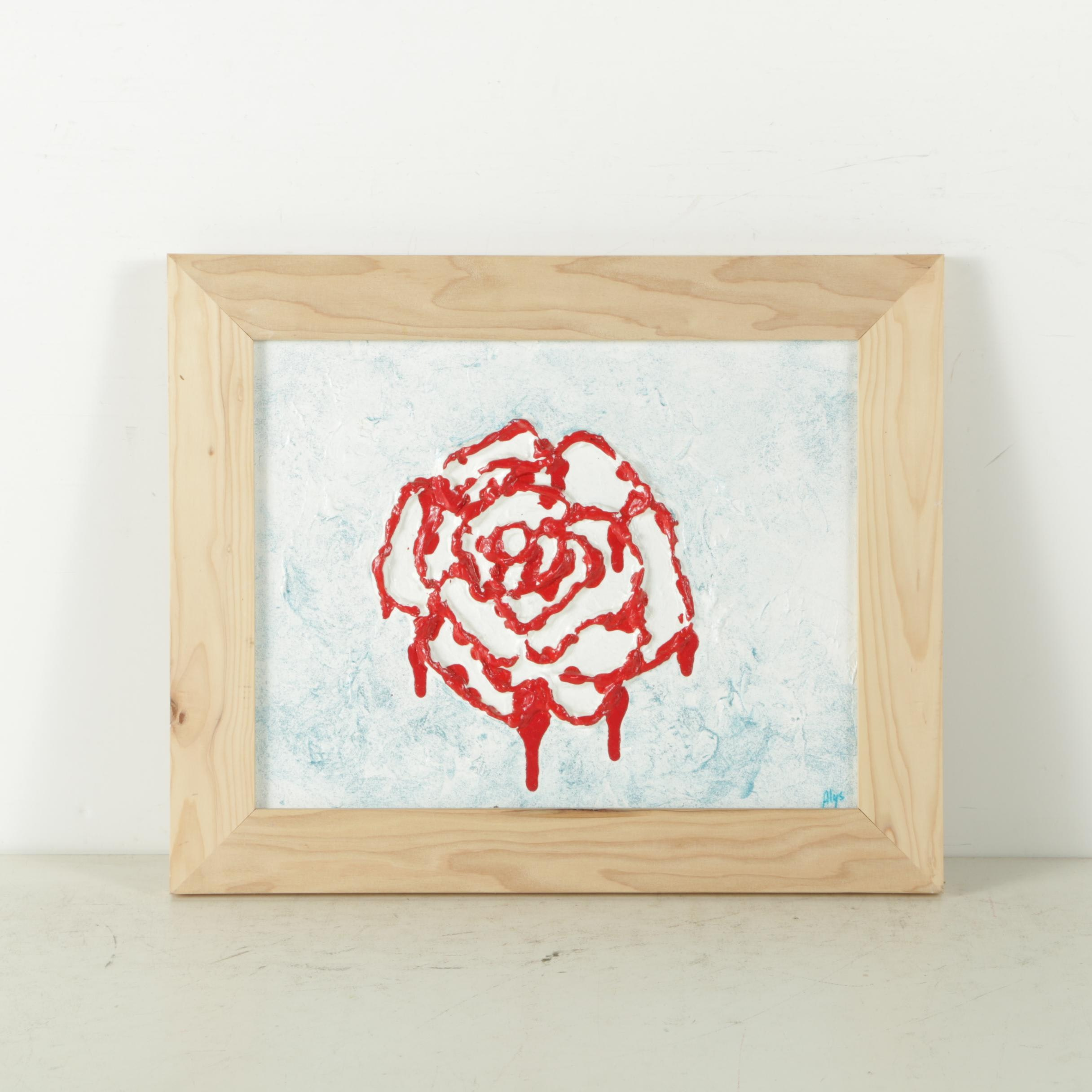 """Alys Caviness-Gober Acrylic on Canvas Board """"Painting the Roses Red"""""""