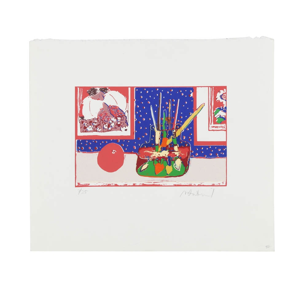 Signed Limited Edition Serigraph on Paper Abstract Still Life