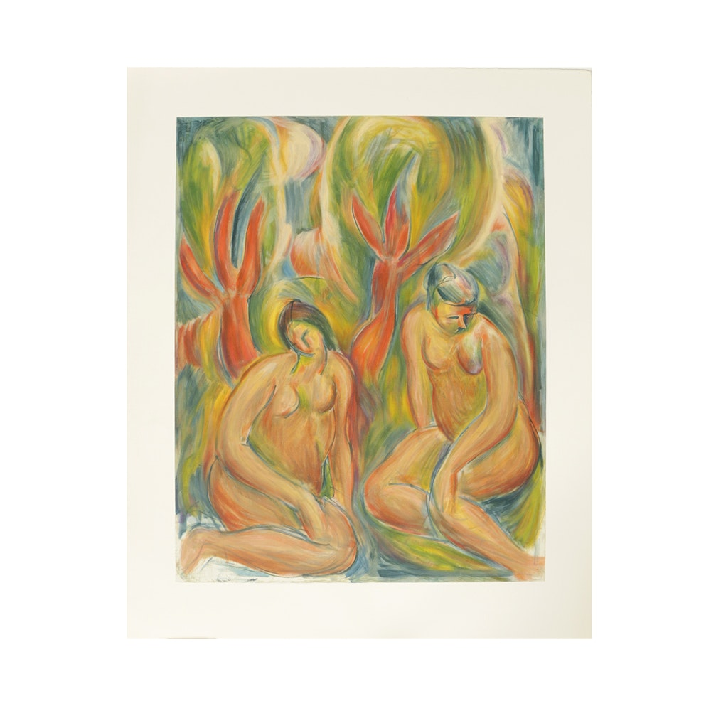 """Bob Guccione Lithograph on Rag Paper After Oil Painting """"Bathers"""""""