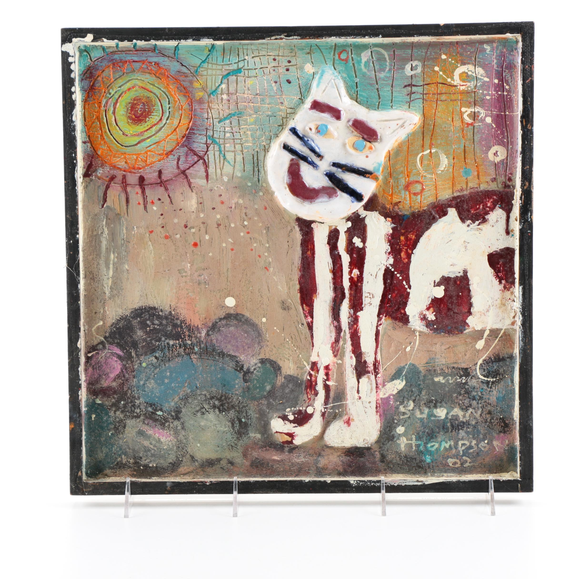 """Susan Thompson Encaustic and Ceramic on Wood Panel """"The Happy Cat"""""""