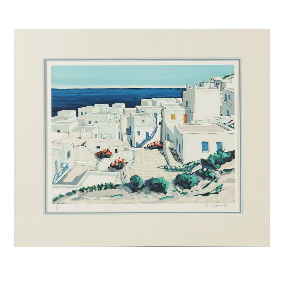 Jean-Claude Quilici Limited Edition Lithograph on Paper Architectural Landscape