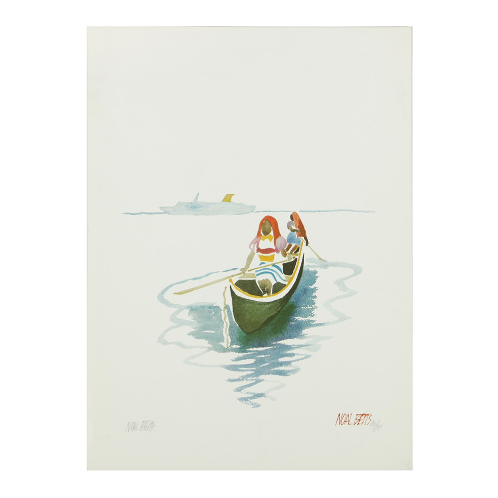 Noal Betts Limited Edition Offset Lithograph on Paper of Women in Canoe