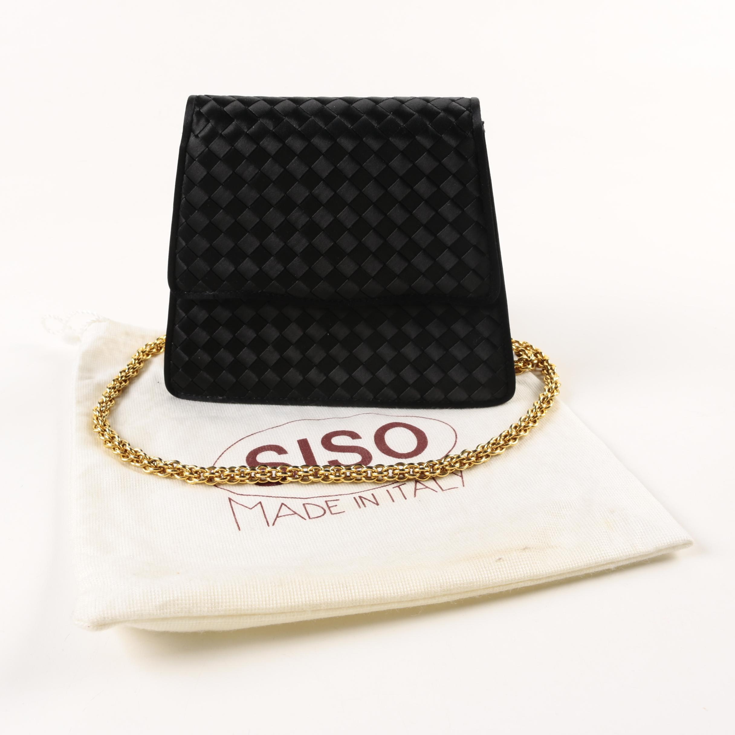Siso Black Satin Evening Bag with Gold Tone Chain Strap