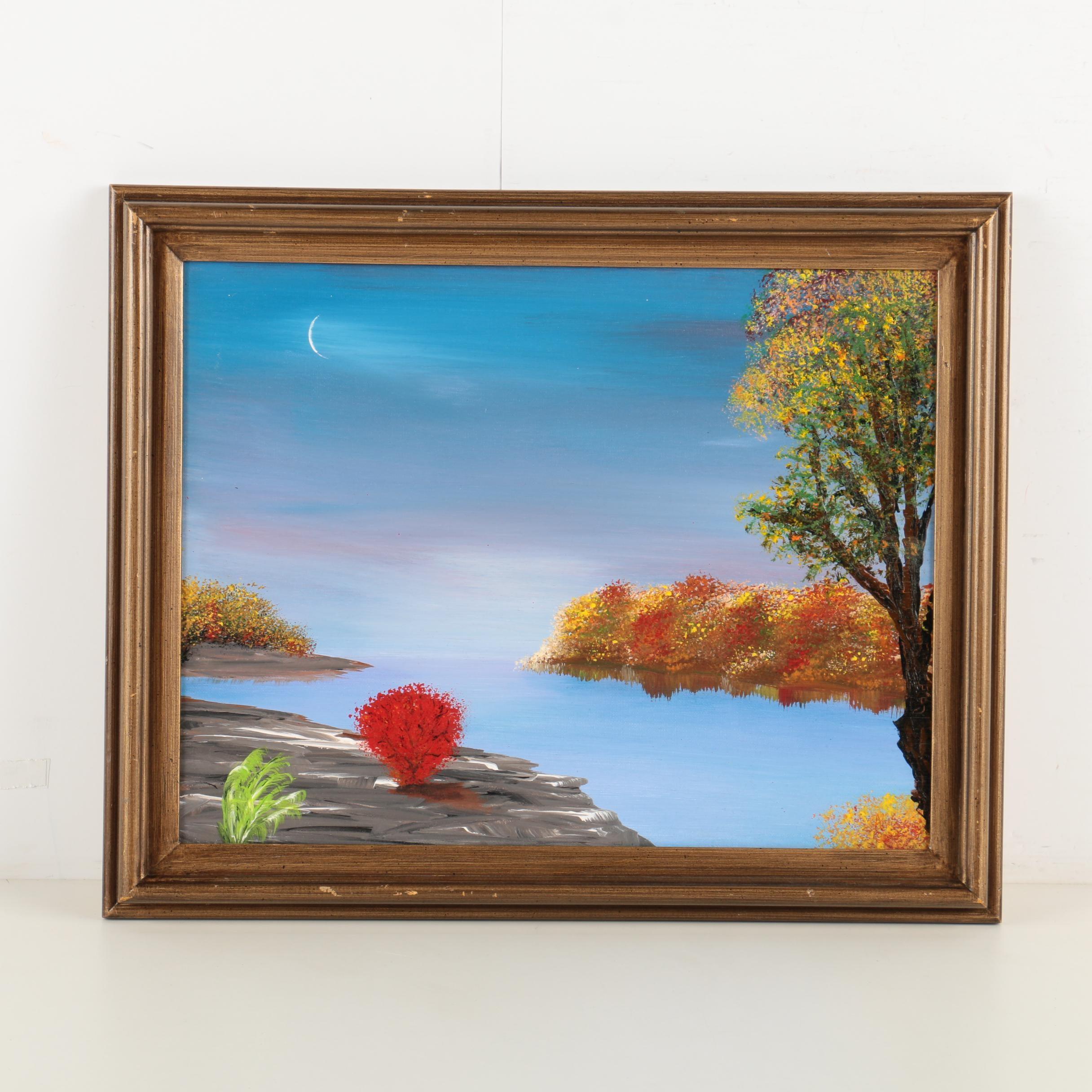 "Alys Caviness-Gober Acrylic on Canvas ""Evening on the Last Sunny Day"""