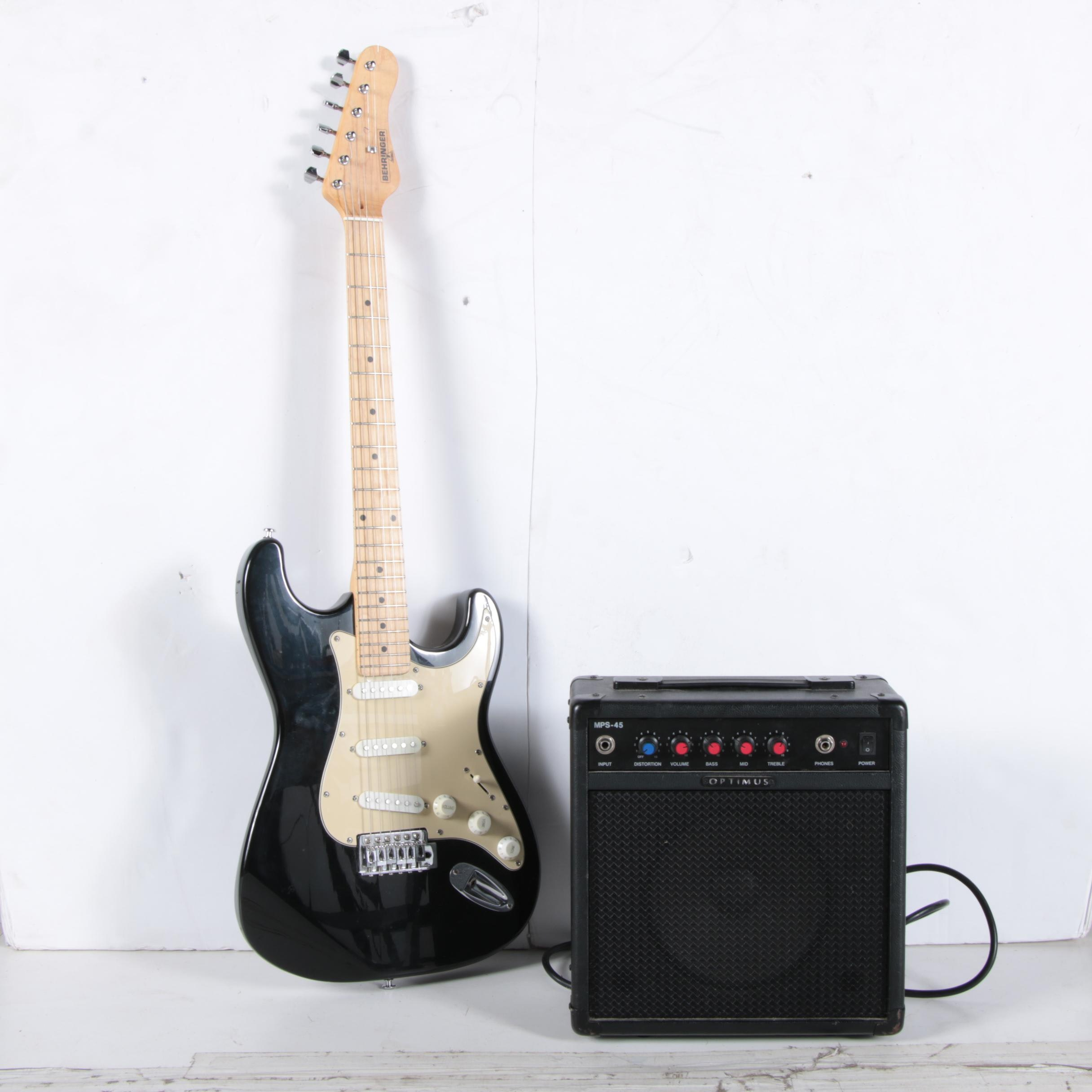 Behringer Strat Style Electric Guitar and Optimus Amplifier