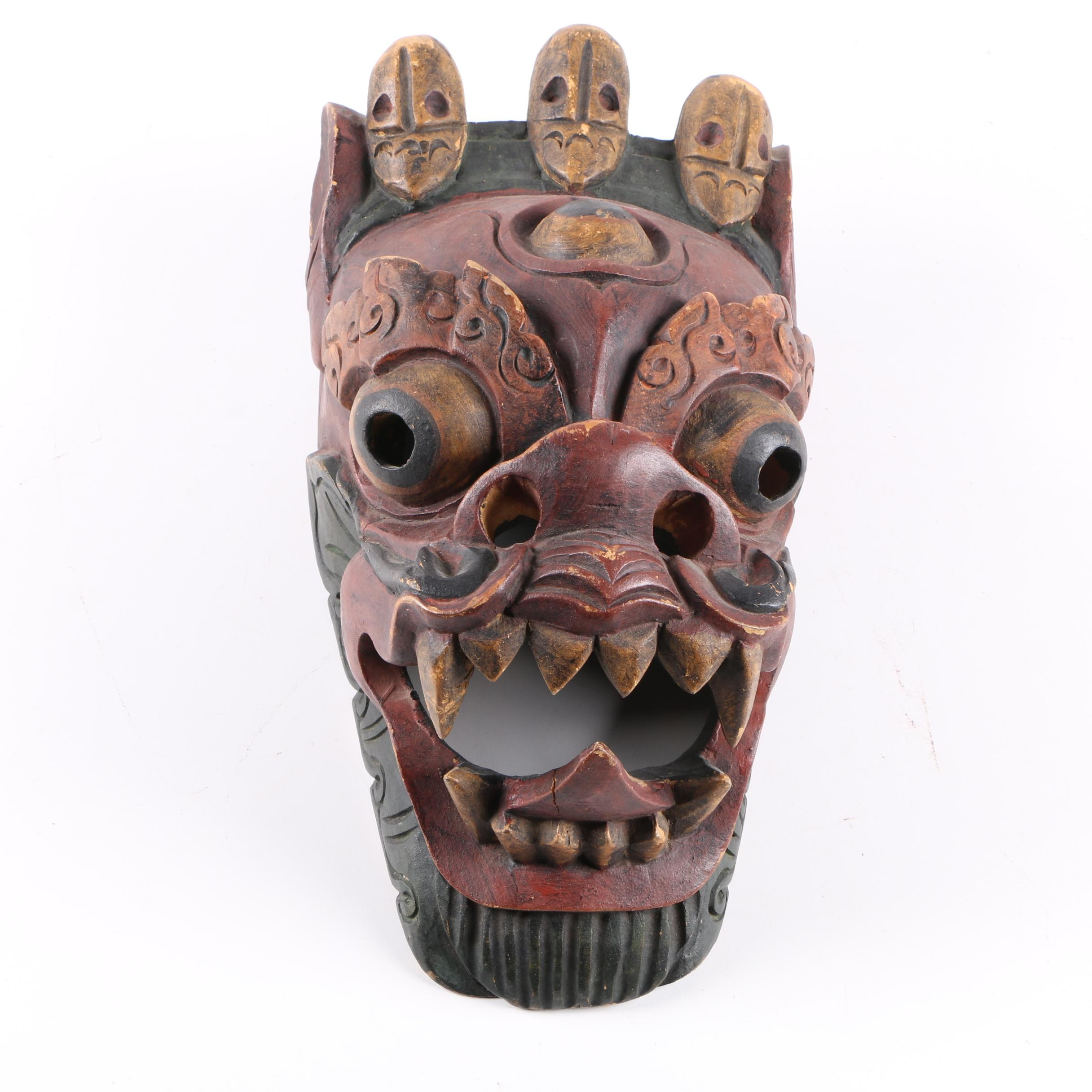 Painted Wooden Indonesian Demon Mask