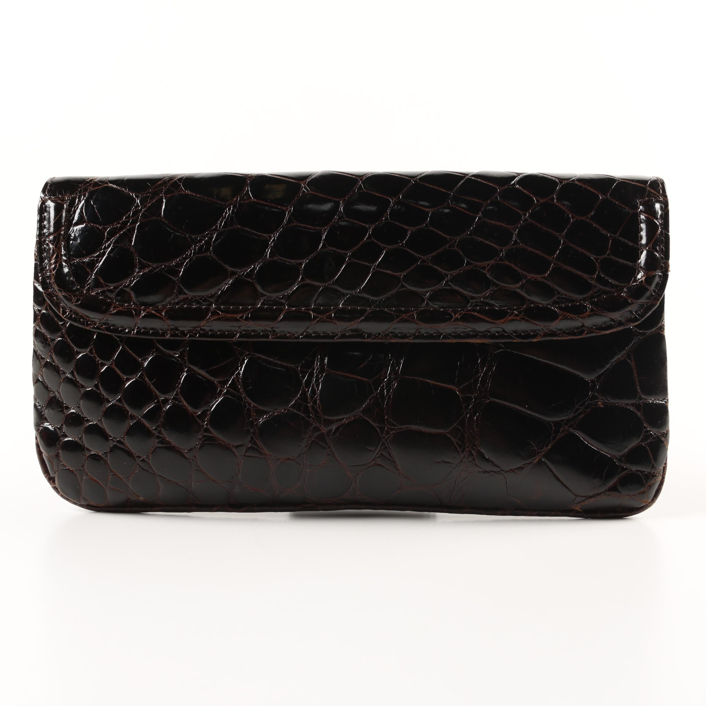 Elizabeth Genuine Crocodile Wristlet Clutch