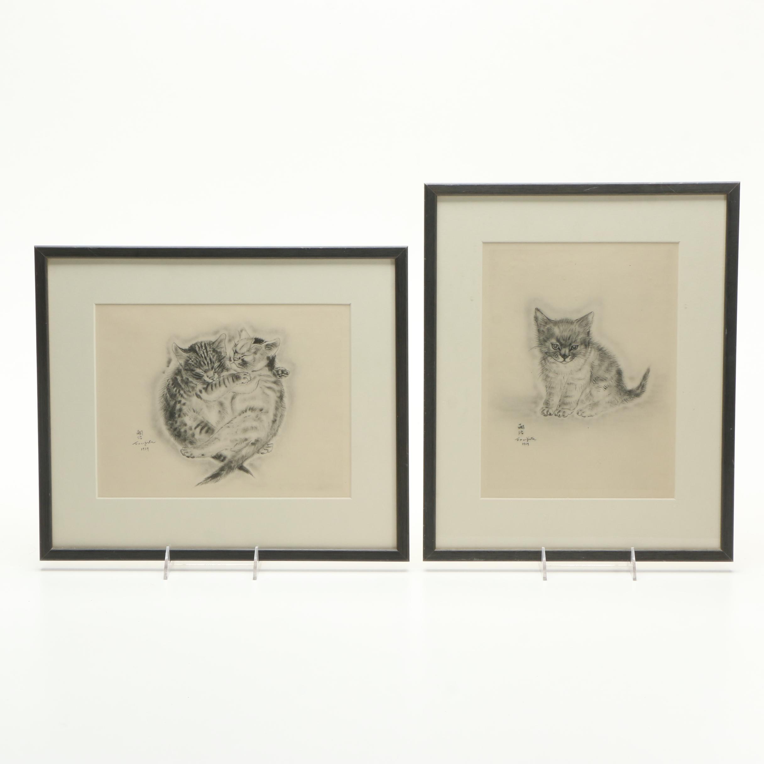 Pair of Léonard Tsuguharu Foujita Aquatint Etchings on Paper