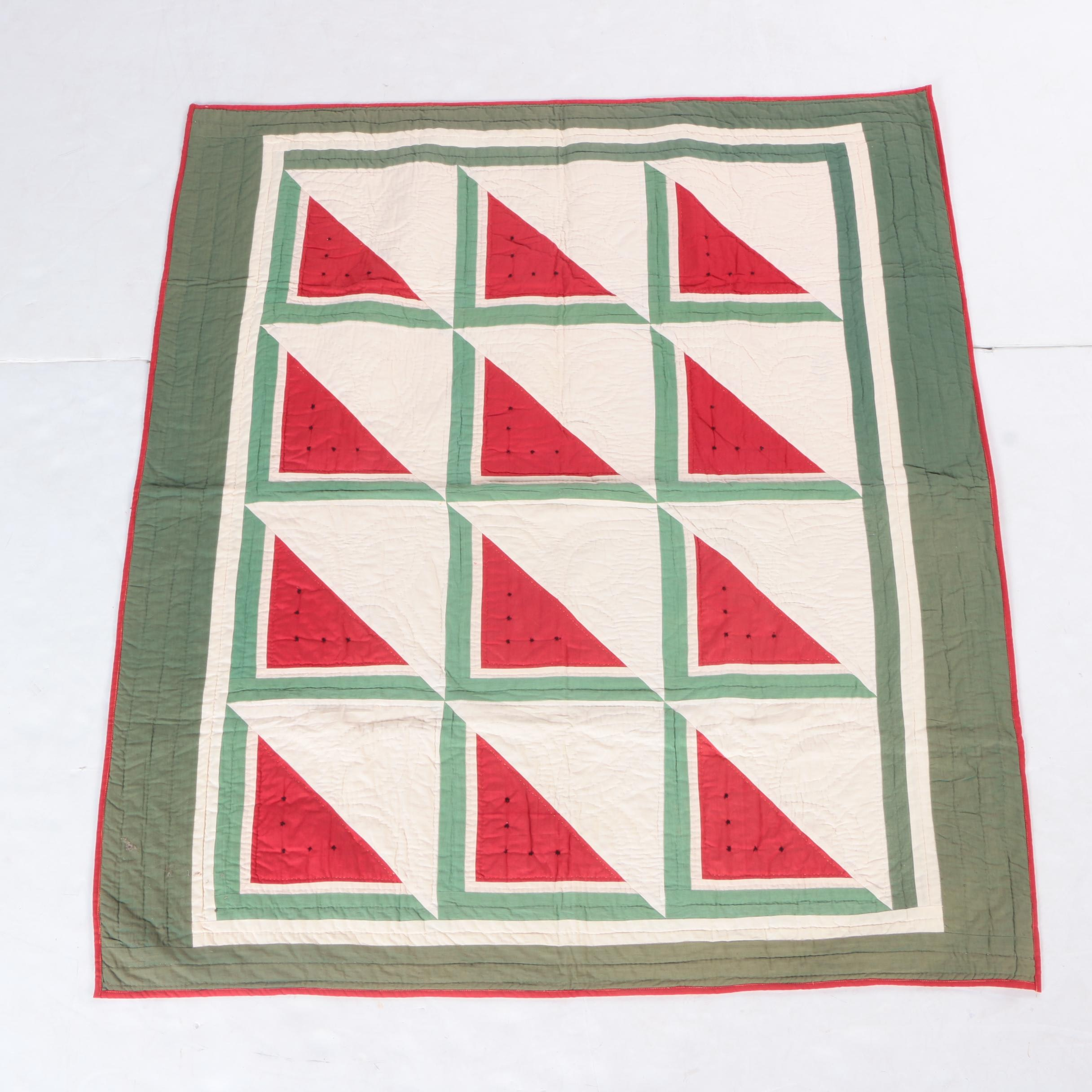 "Hand Quilted ""Watermelon"" Quilt"