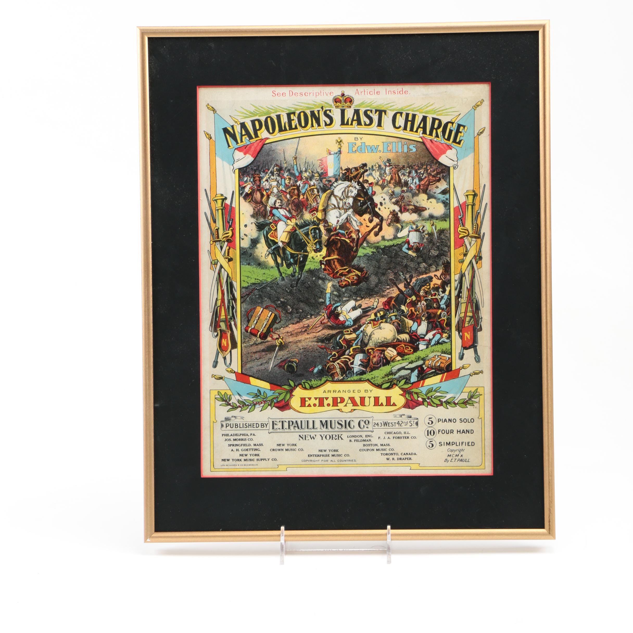 """1910 Color Lithograph Sheet Music for E.T. Paull's """"Napoleon's Last Charge"""""""