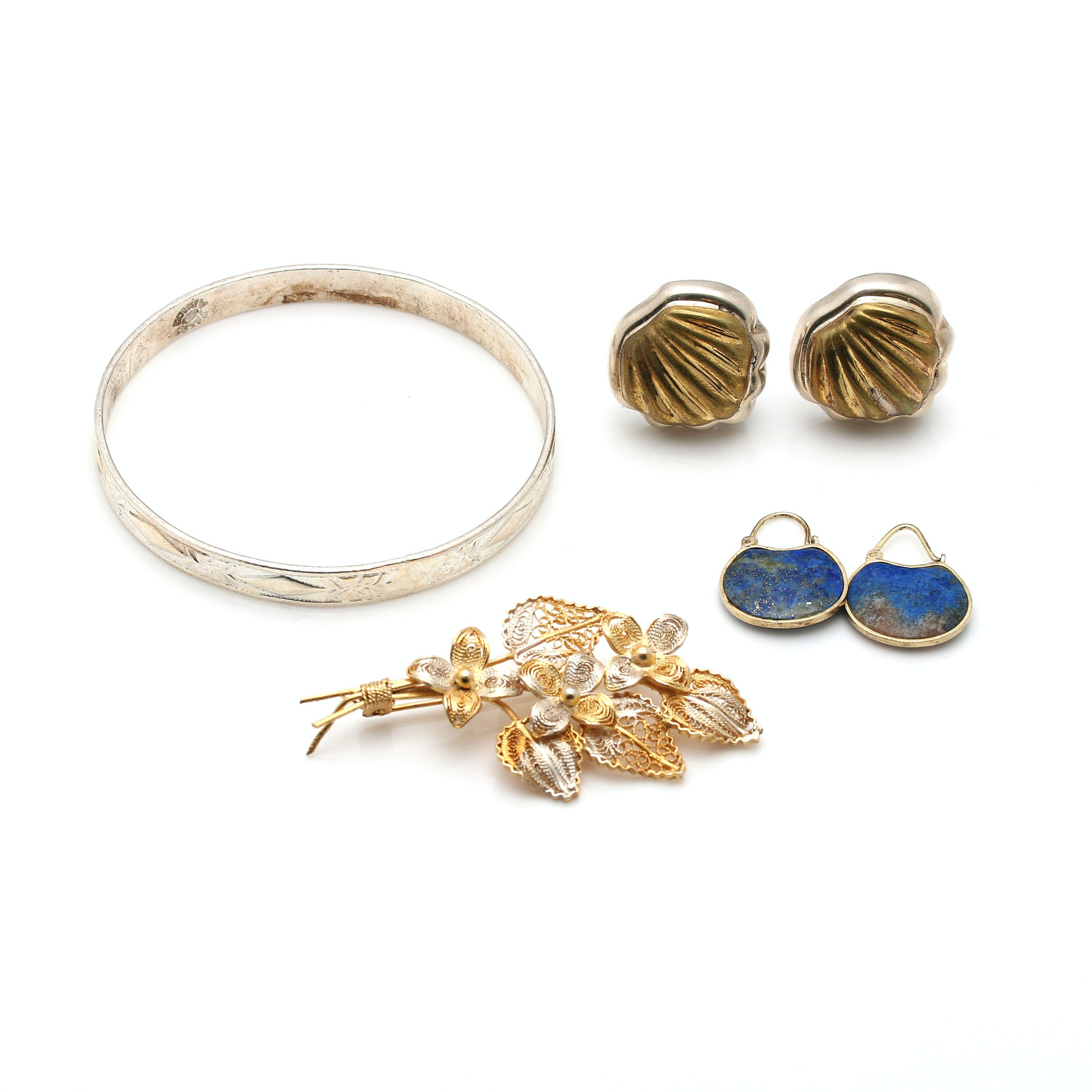 Grouping of Sterling Silver Jewelry Including Gold Wash and Stone