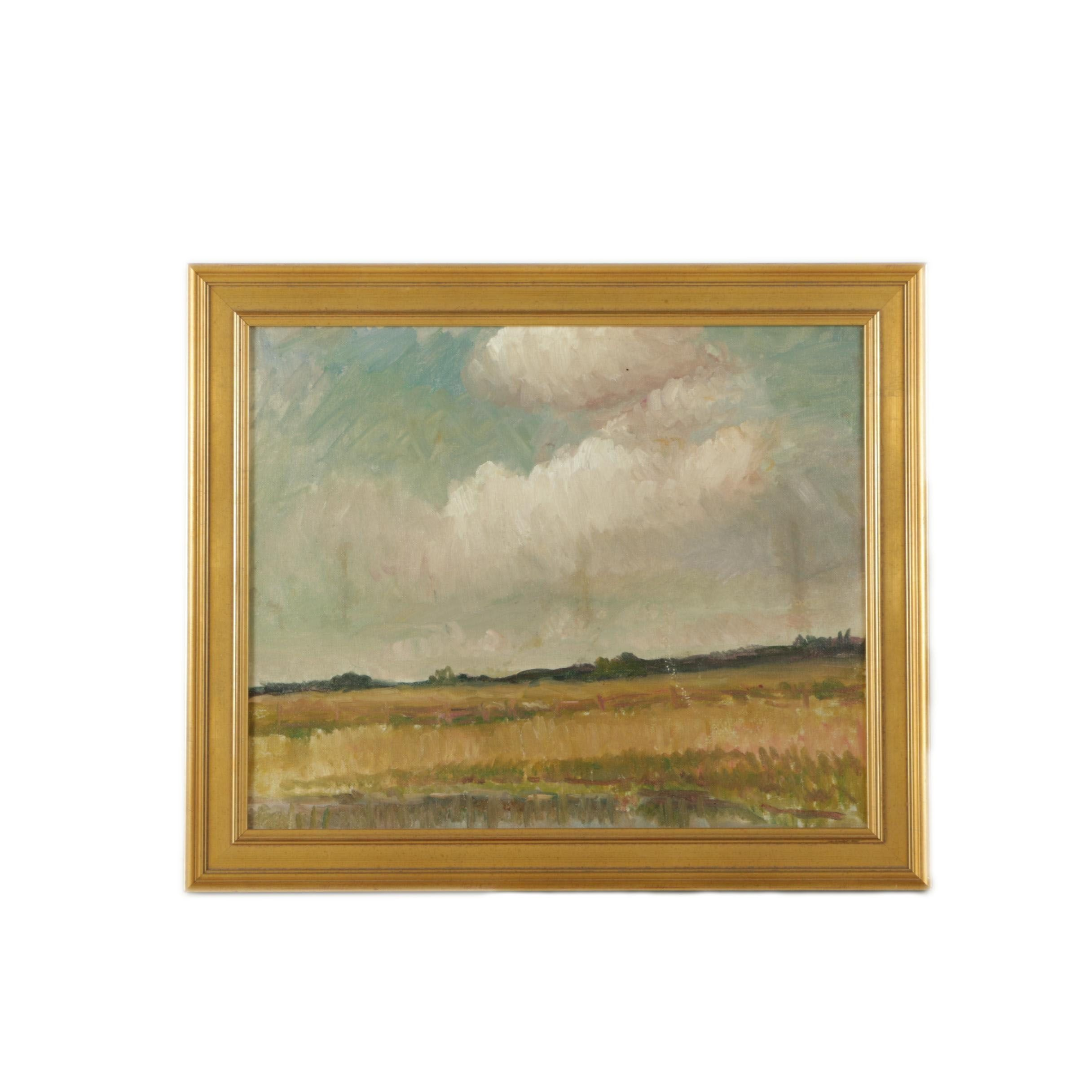 E. Mendenhall Oil Painting of a Landscape on Canvas