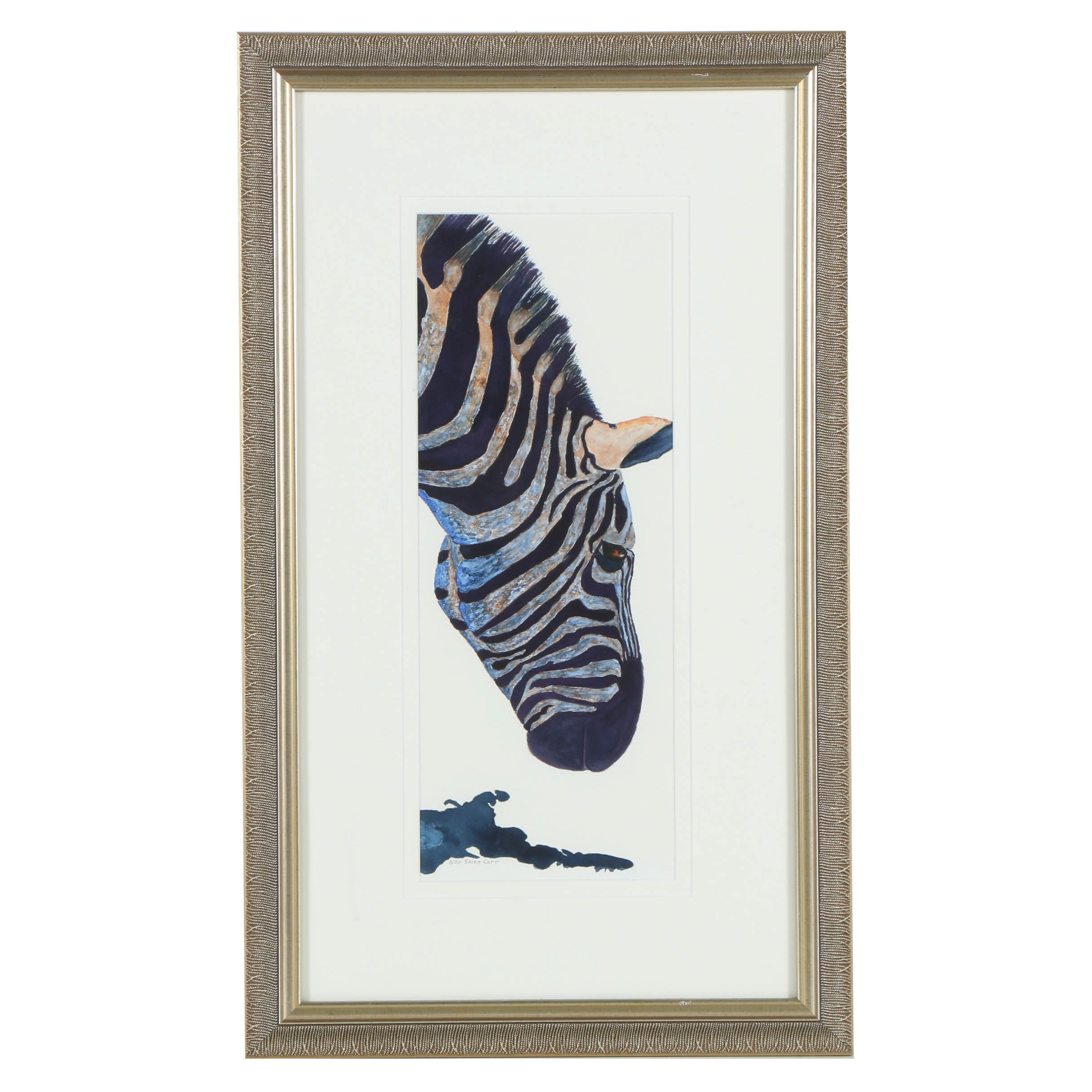 Billie Shinn Carr Mixed Media Painting of a Zebra Profile