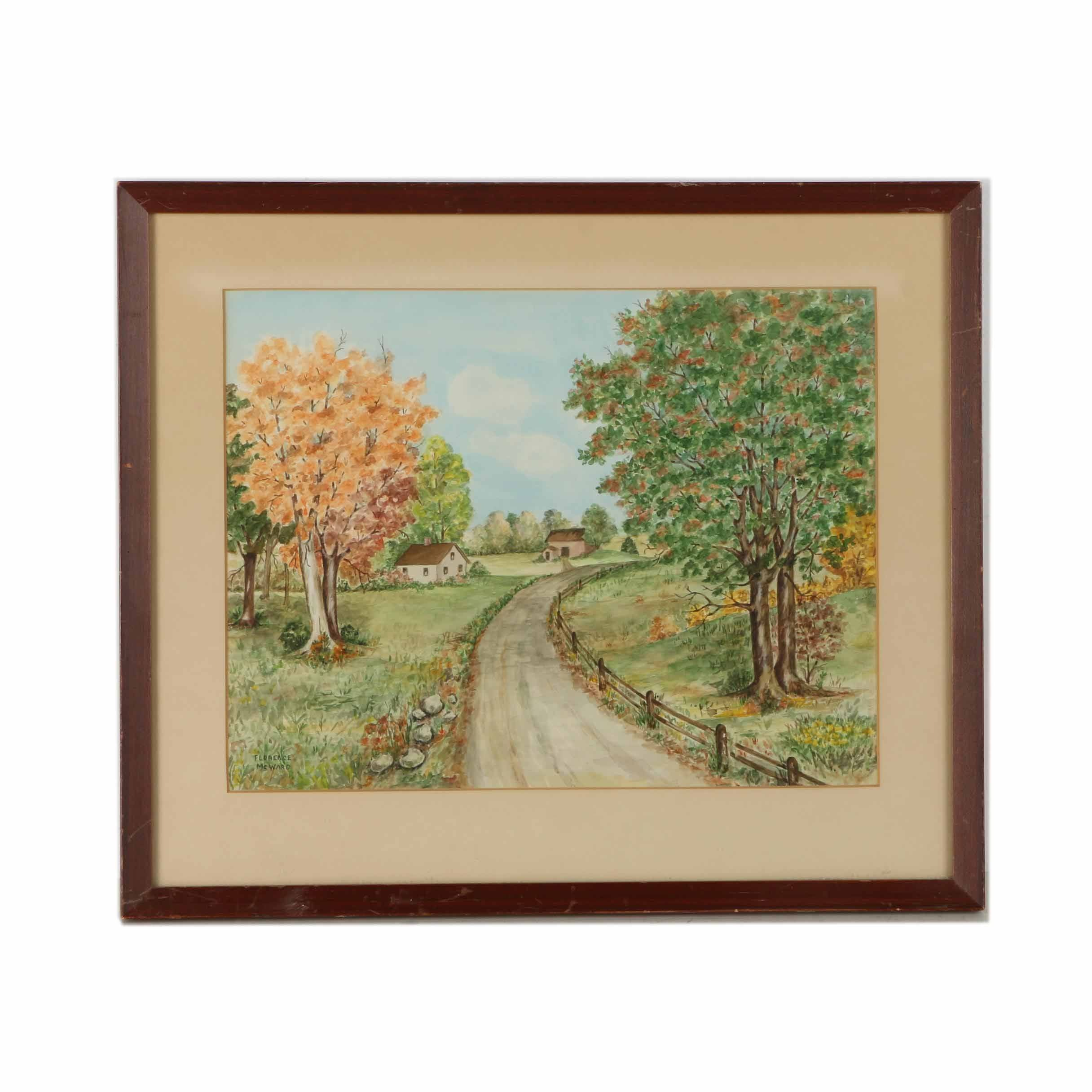 Florence McWard Watercolor Painting on Paper of Pastoral Scene