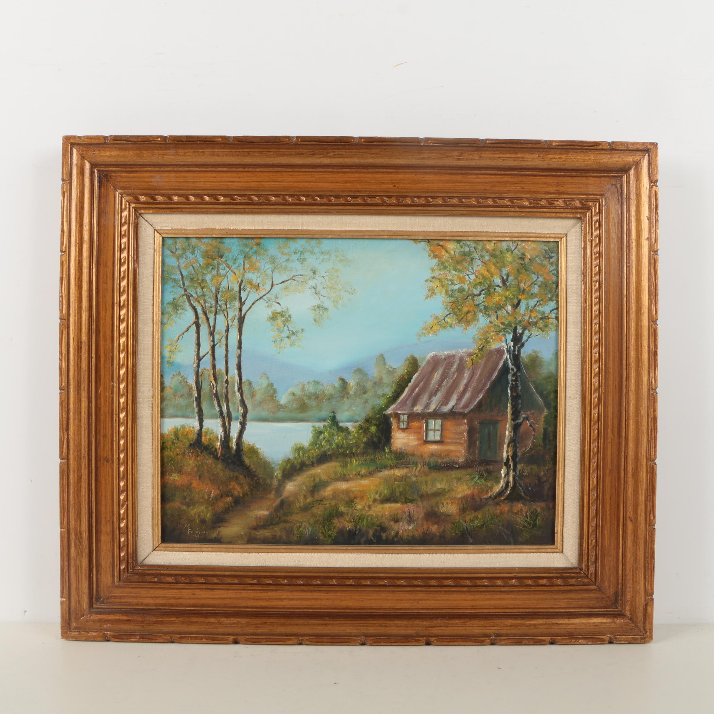 M. Ferguson Oil Painting of Lakeside Cabin
