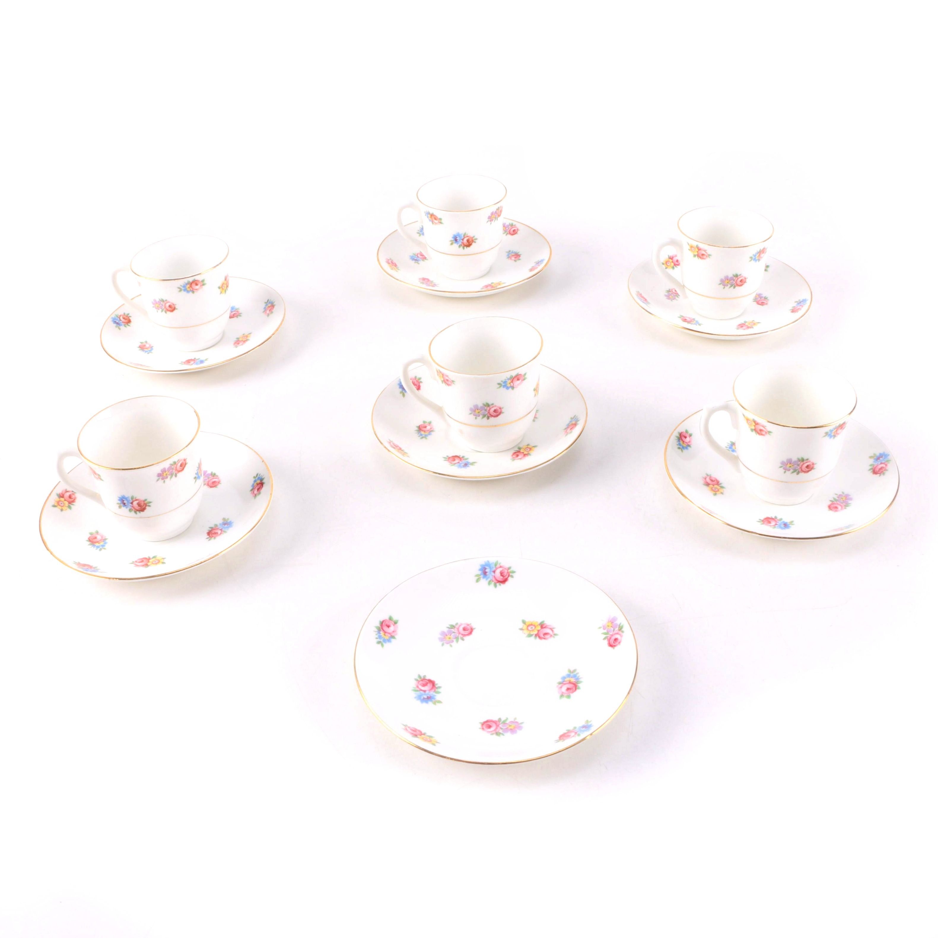 Floral Teacups and Saucers for Six