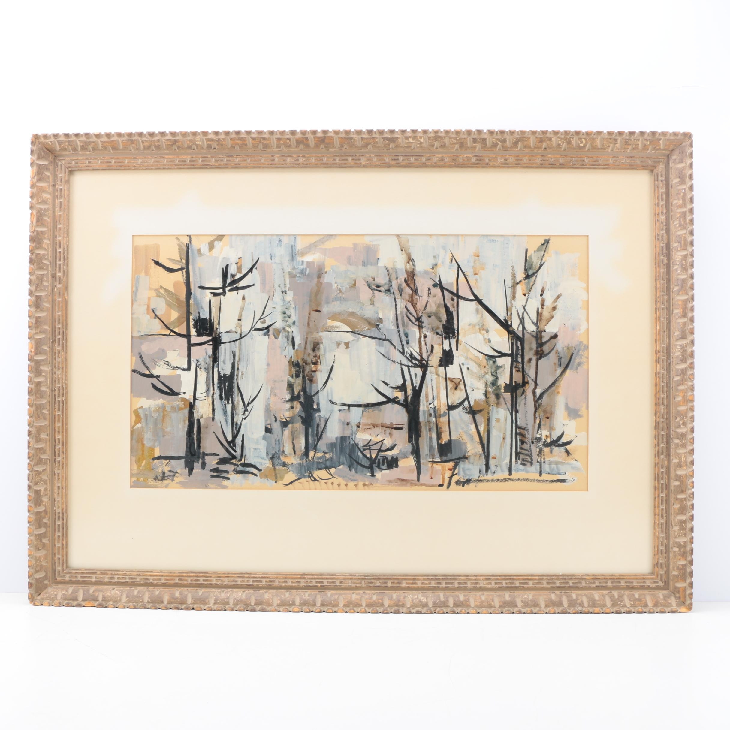 Fall Forest Scene in Gouache and Ink on Paper