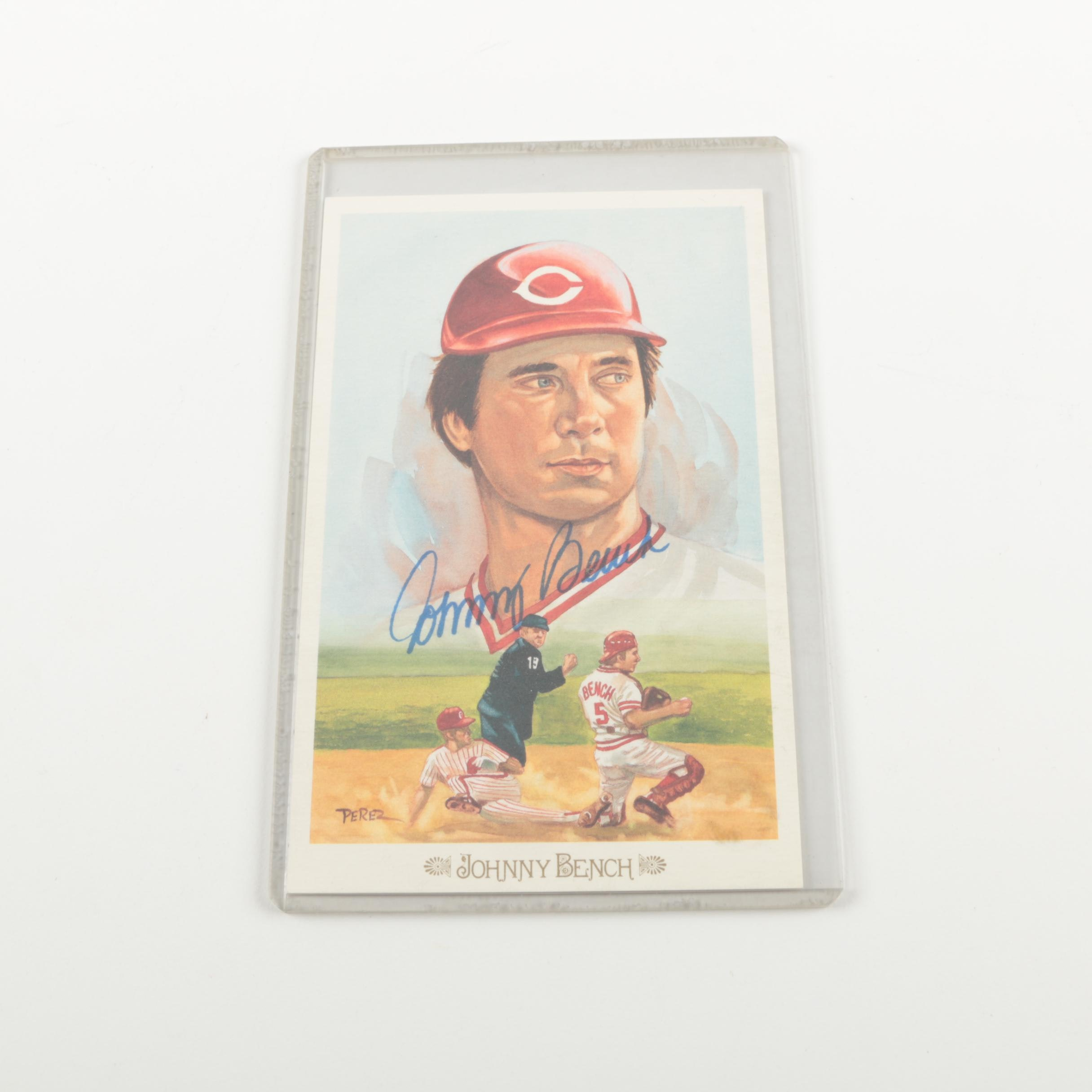 1989 Johnny Bench Autographed Postcard