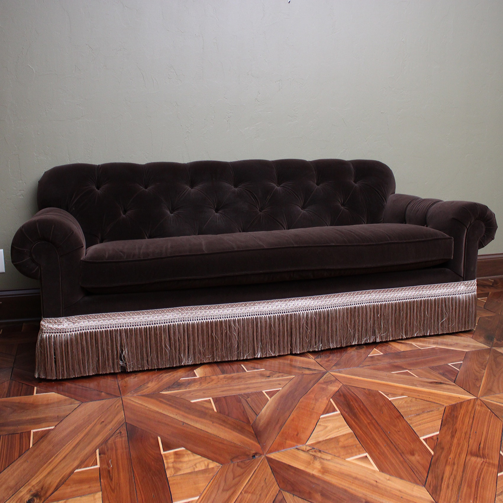 Century Furniture Tufted Sofa with Fringe
