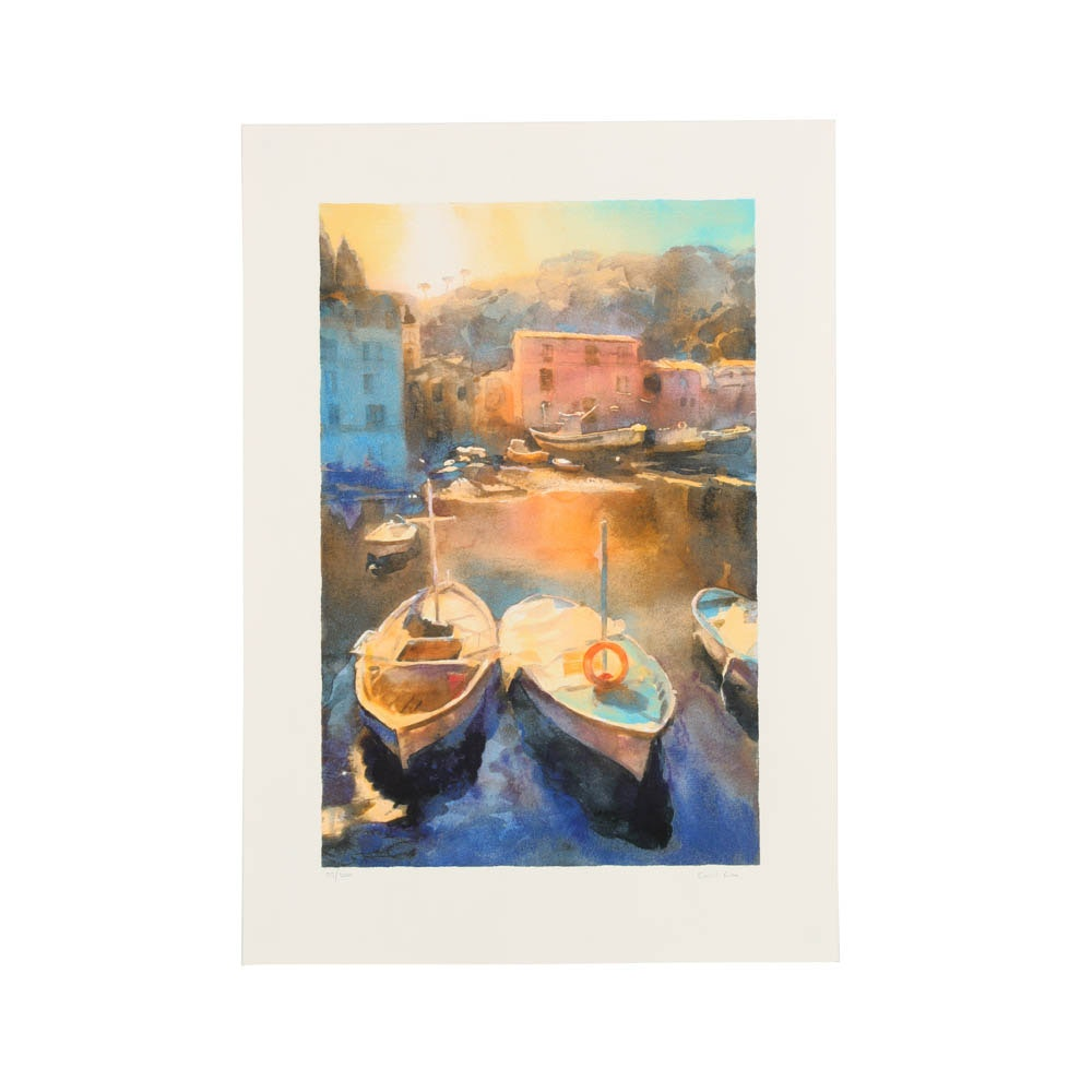 Cecil Rice Limited Edition Giclée on Paper of a Colorful Dock Scene