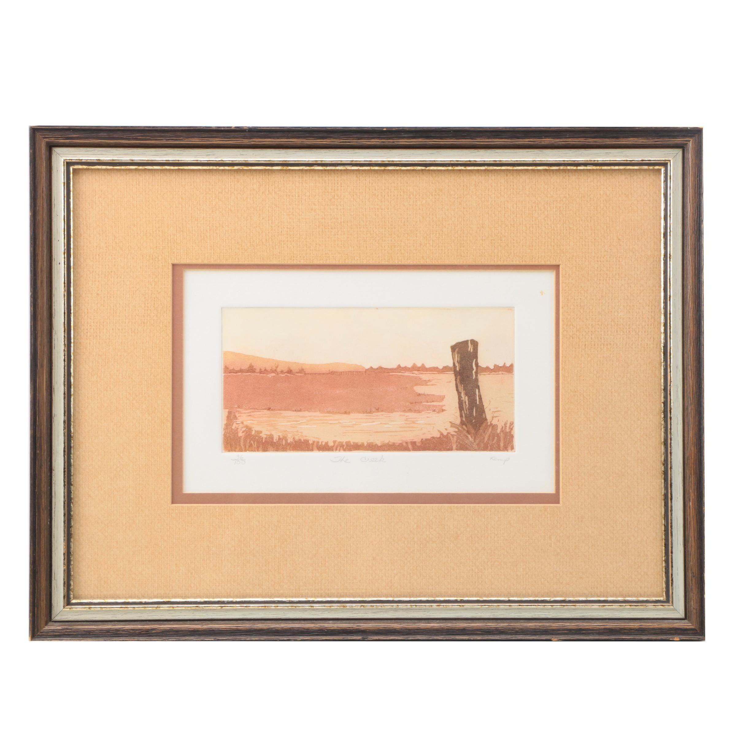 """Kemp Limited Edition Colored Aquatint Etching Print on Paper """"The Creek"""""""