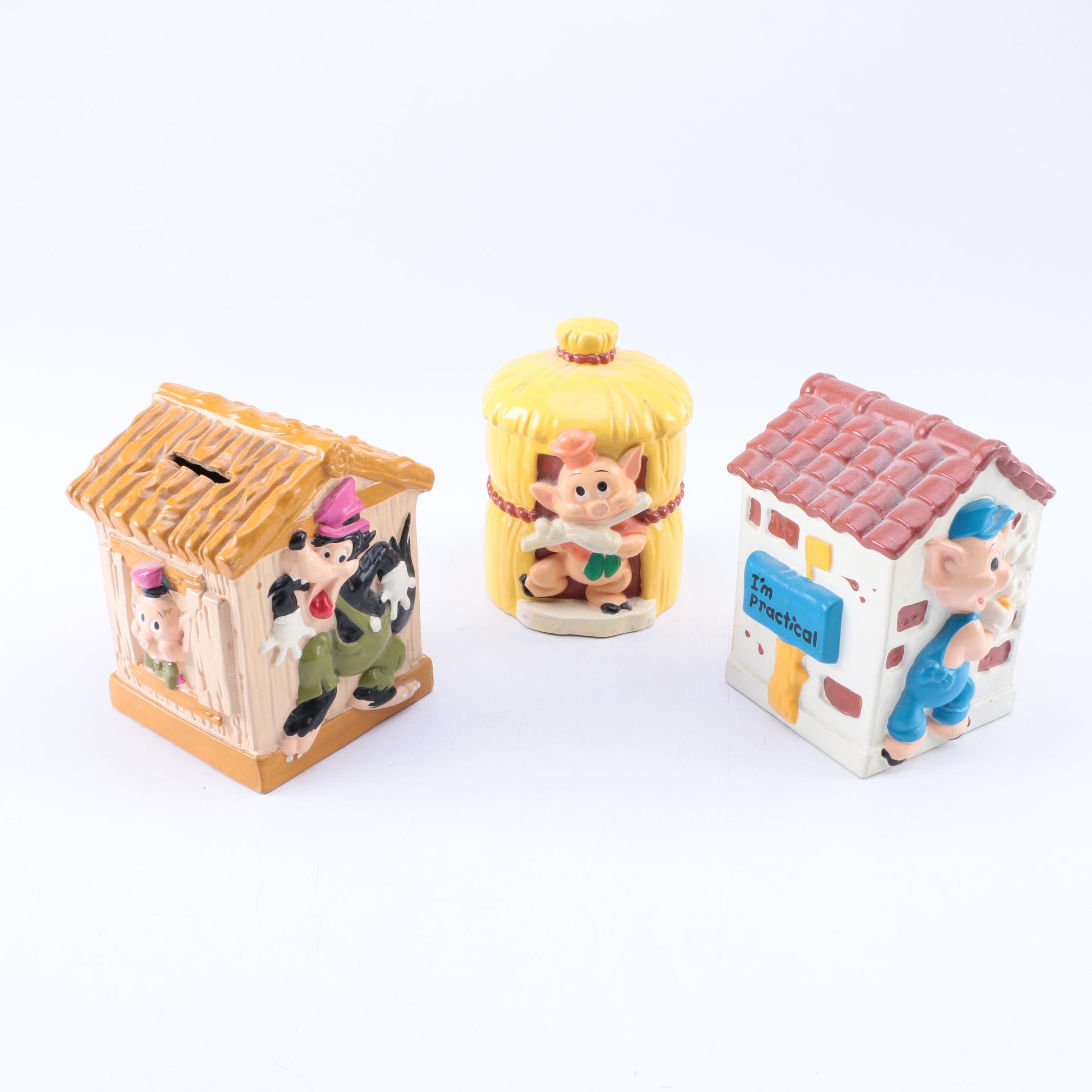 "Vintage Walt Disney ""Three Little Pigs"" Ceramic Coin Banks"
