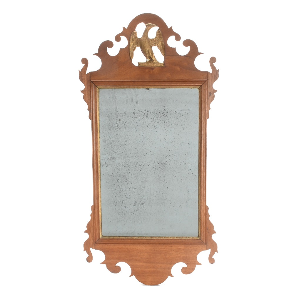 Antique Chippendale Style Walnut Wall Mirror