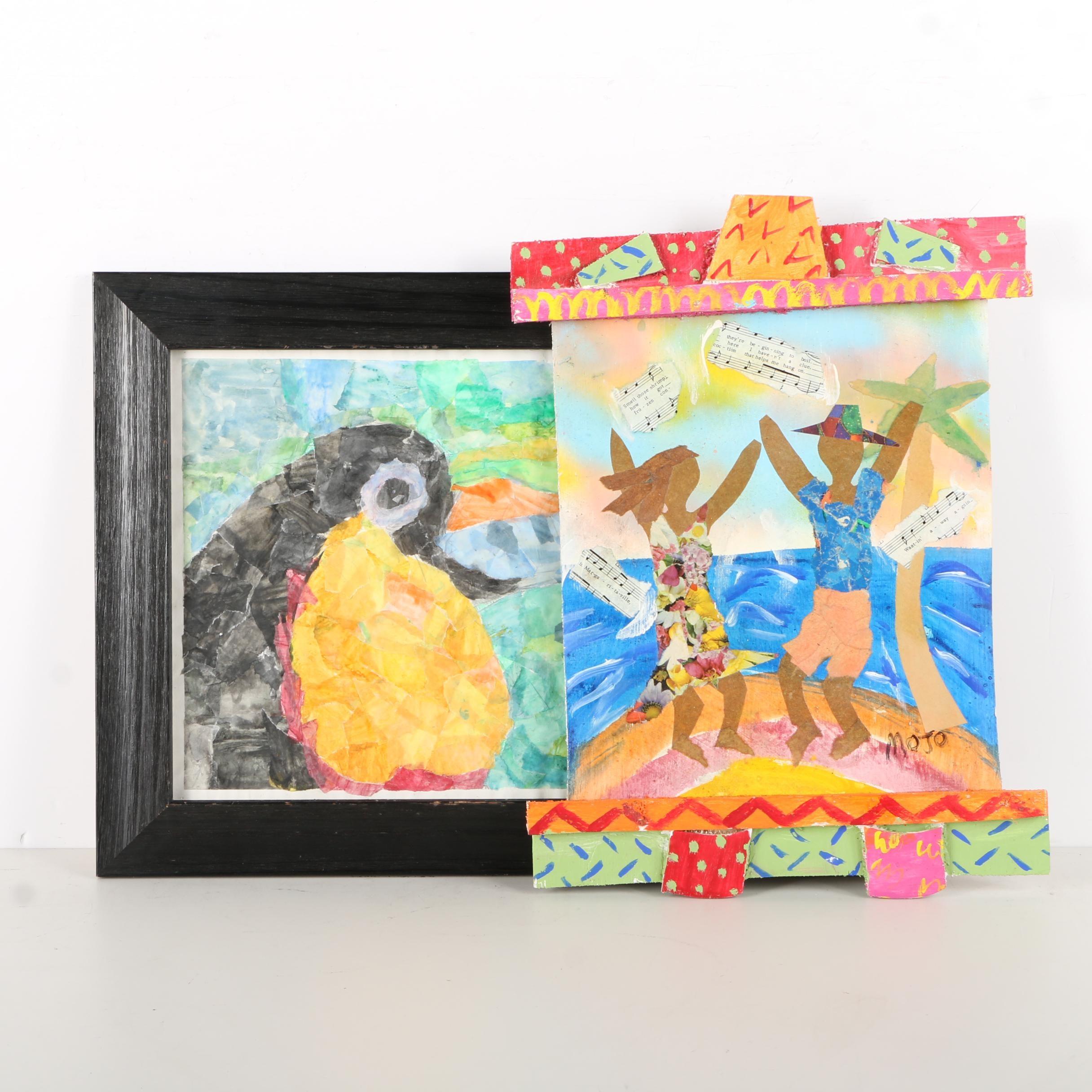 Megan McCord and Morris Johnson Mixed Media Paintings of Tropical Scenes