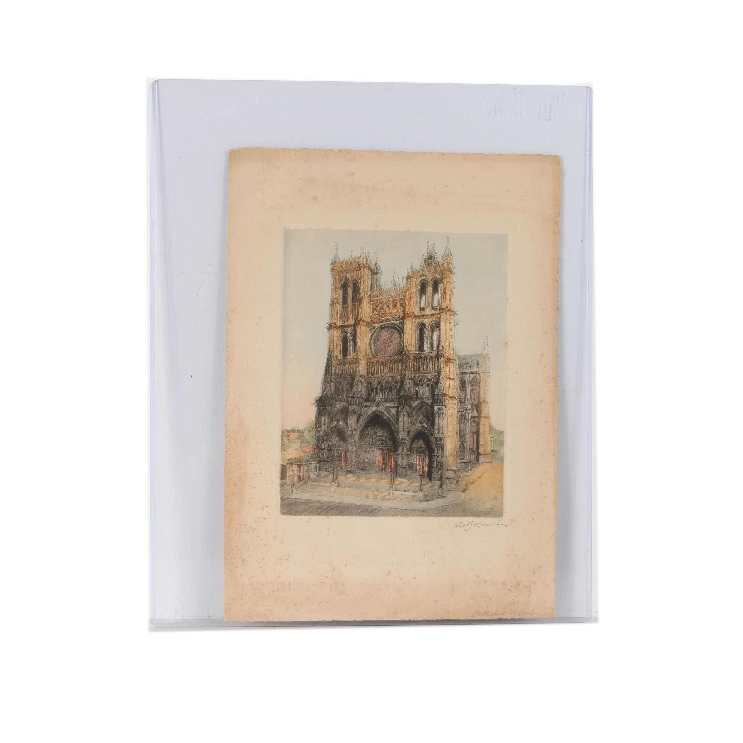 Hand Colored Etching of Notre Dame Cathedral