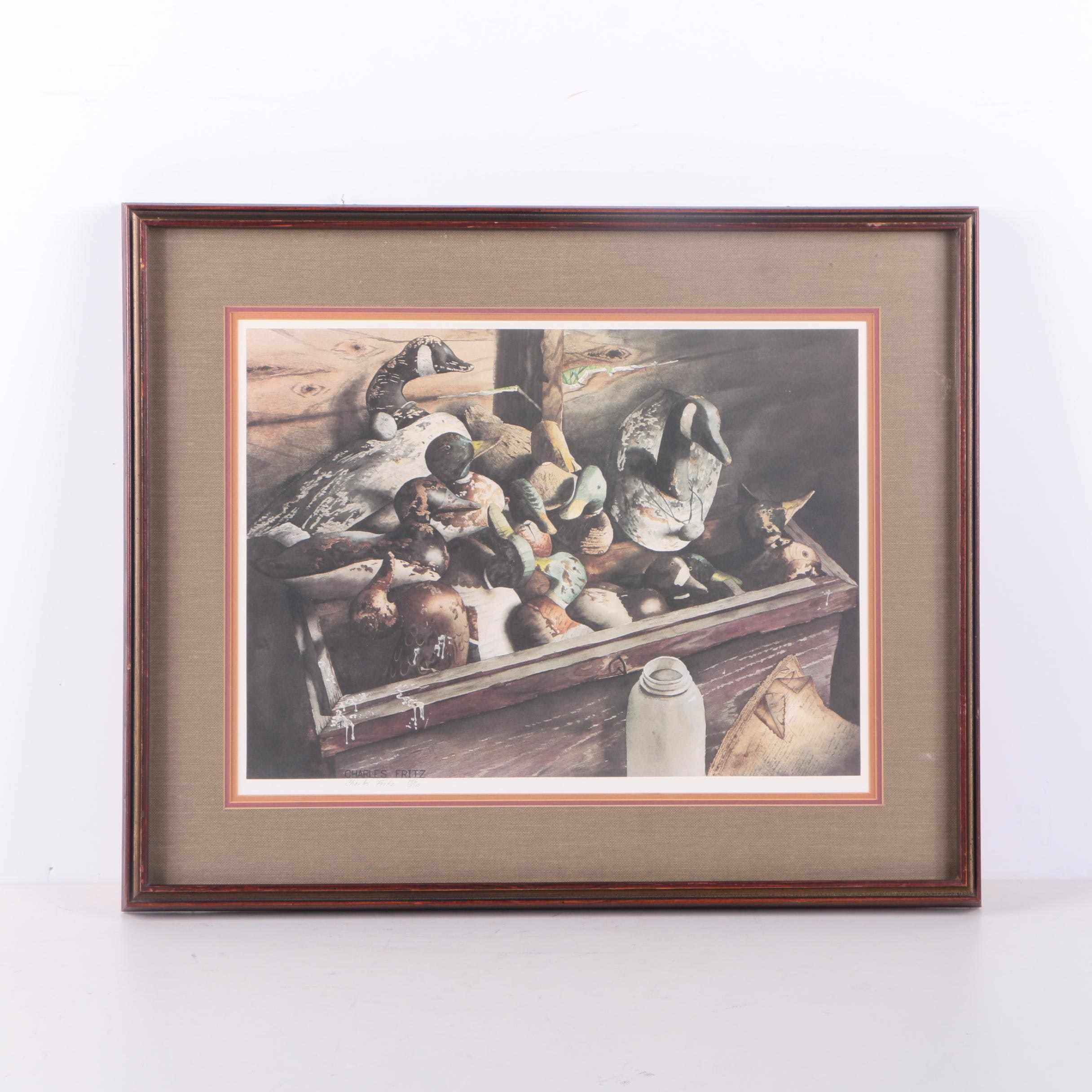 Charles Fritz Limited Edition Offset Lithograph of Used Decoy in a Box