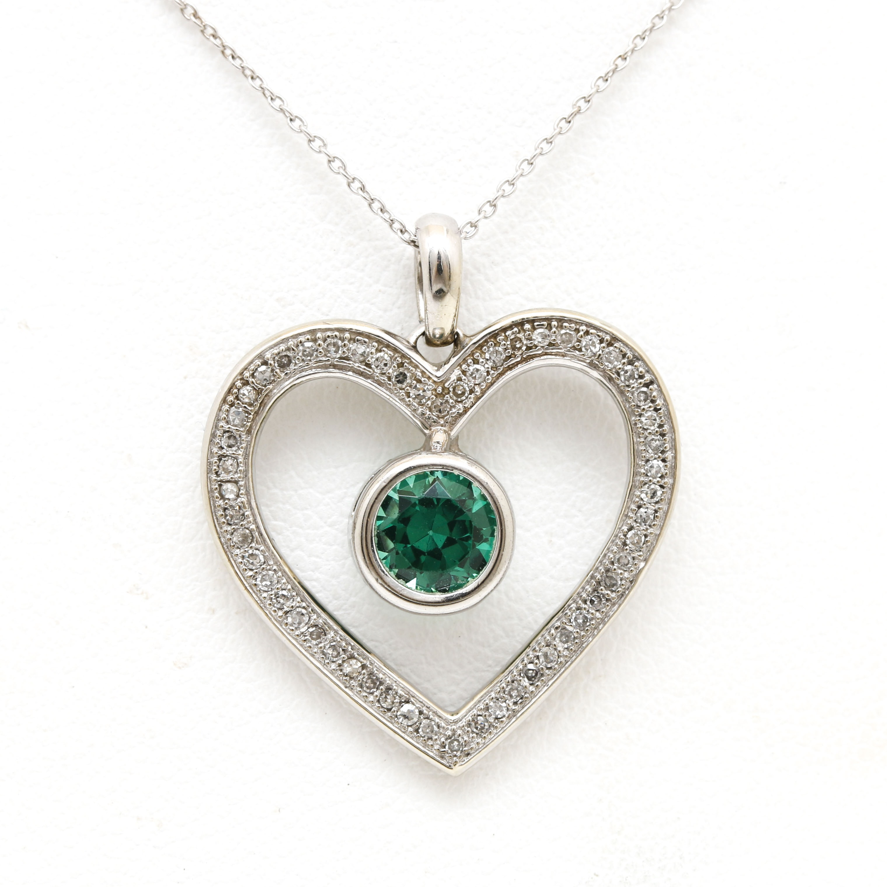 10K and 14K White Gold Spinel and Diamond Heart Pendant Necklace